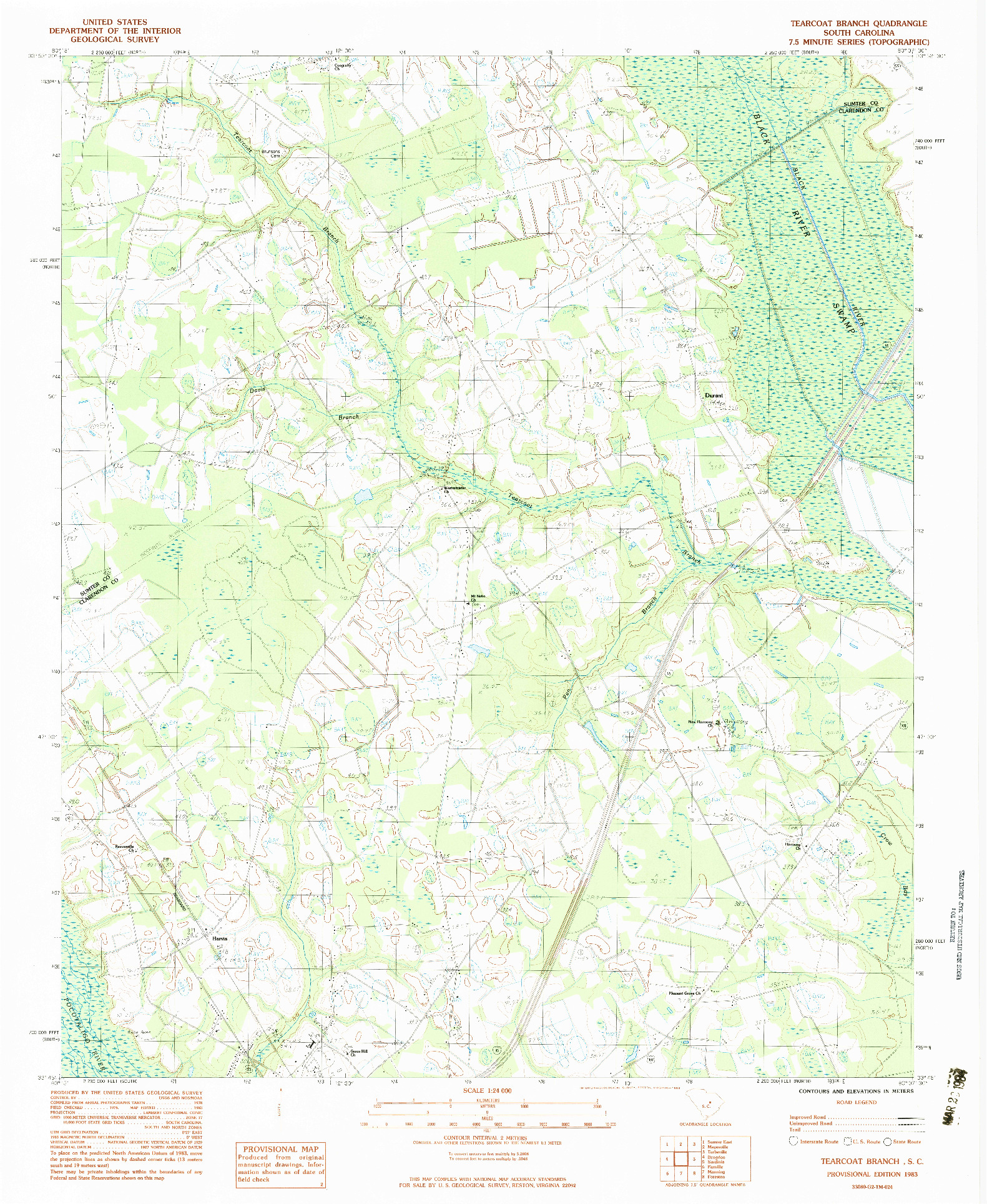 USGS 1:24000-SCALE QUADRANGLE FOR TEARCOAT BRANCH, SC 1983