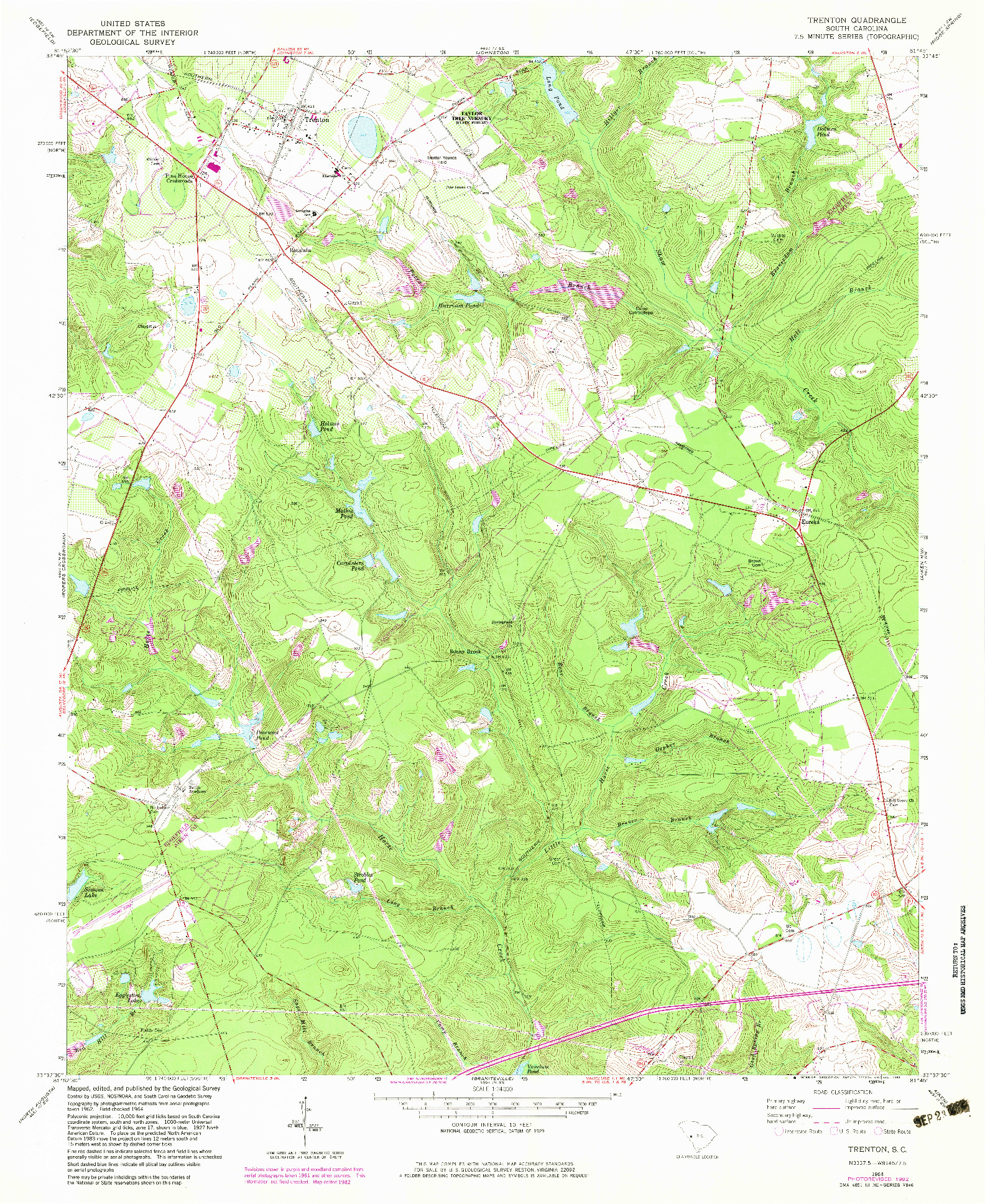 USGS 1:24000-SCALE QUADRANGLE FOR TRENTON, SC 1964