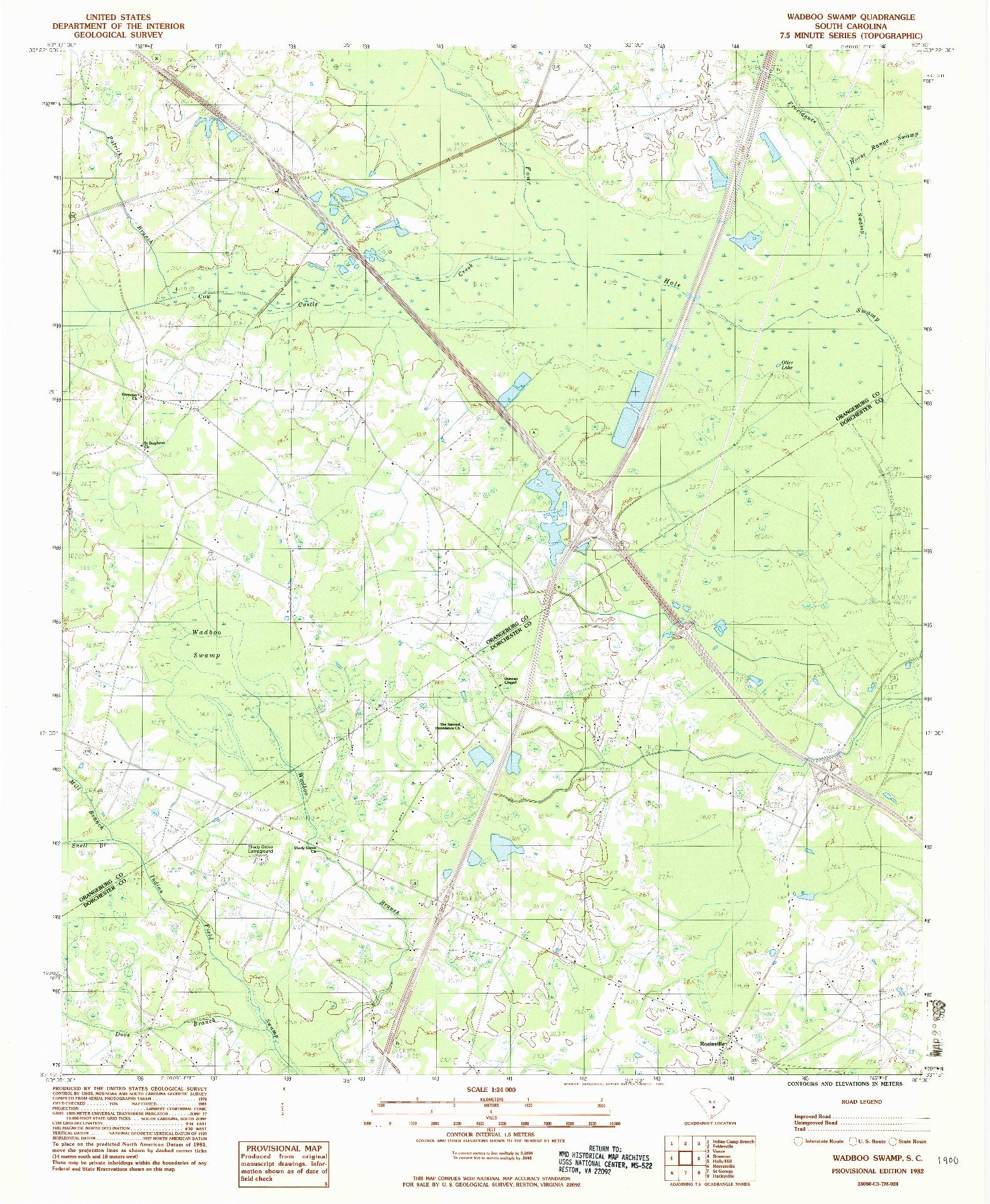 USGS 1:24000-SCALE QUADRANGLE FOR WADBOO SWAMP, SC 1982
