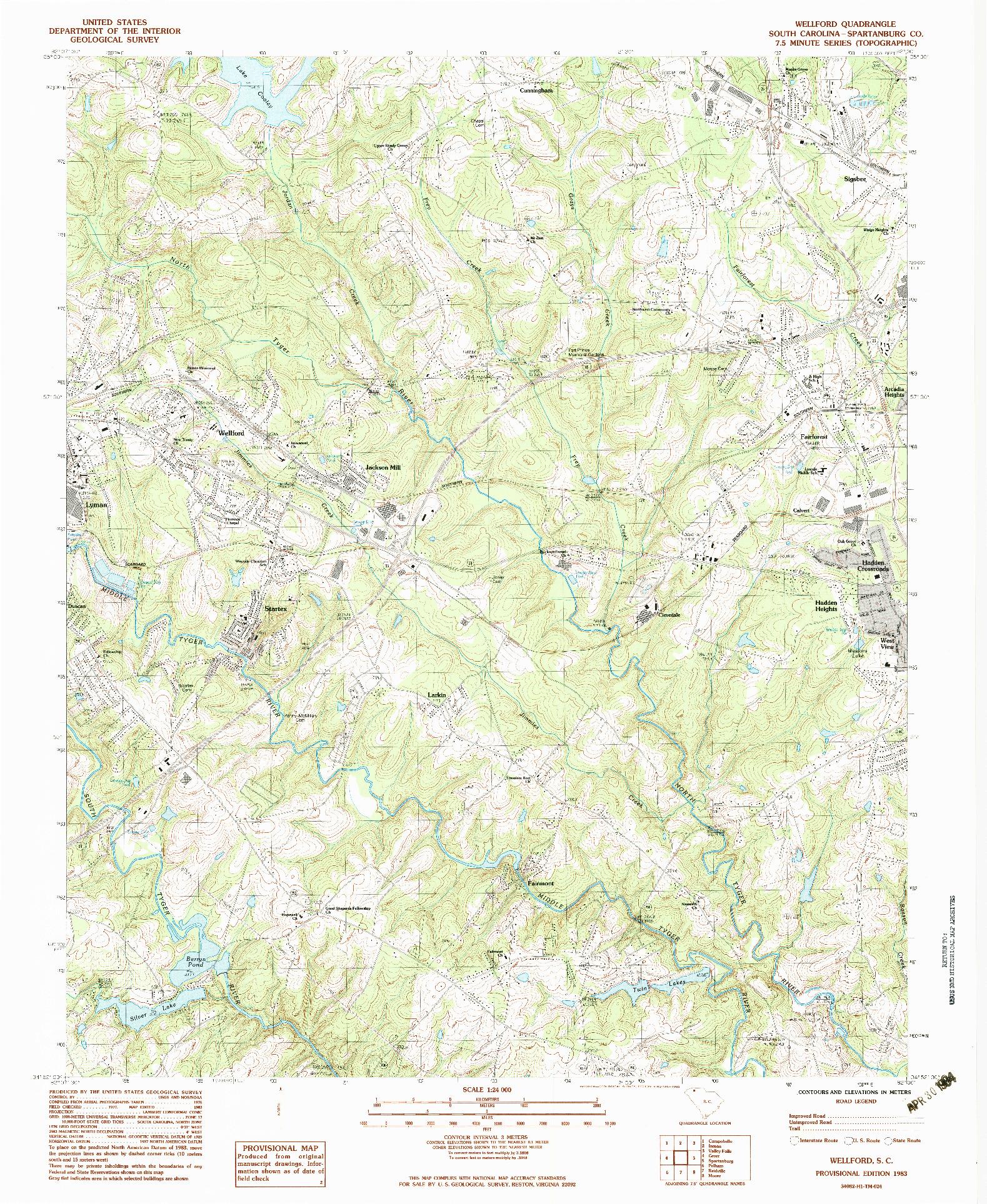 USGS 1:24000-SCALE QUADRANGLE FOR WELLFORD, SC 1983
