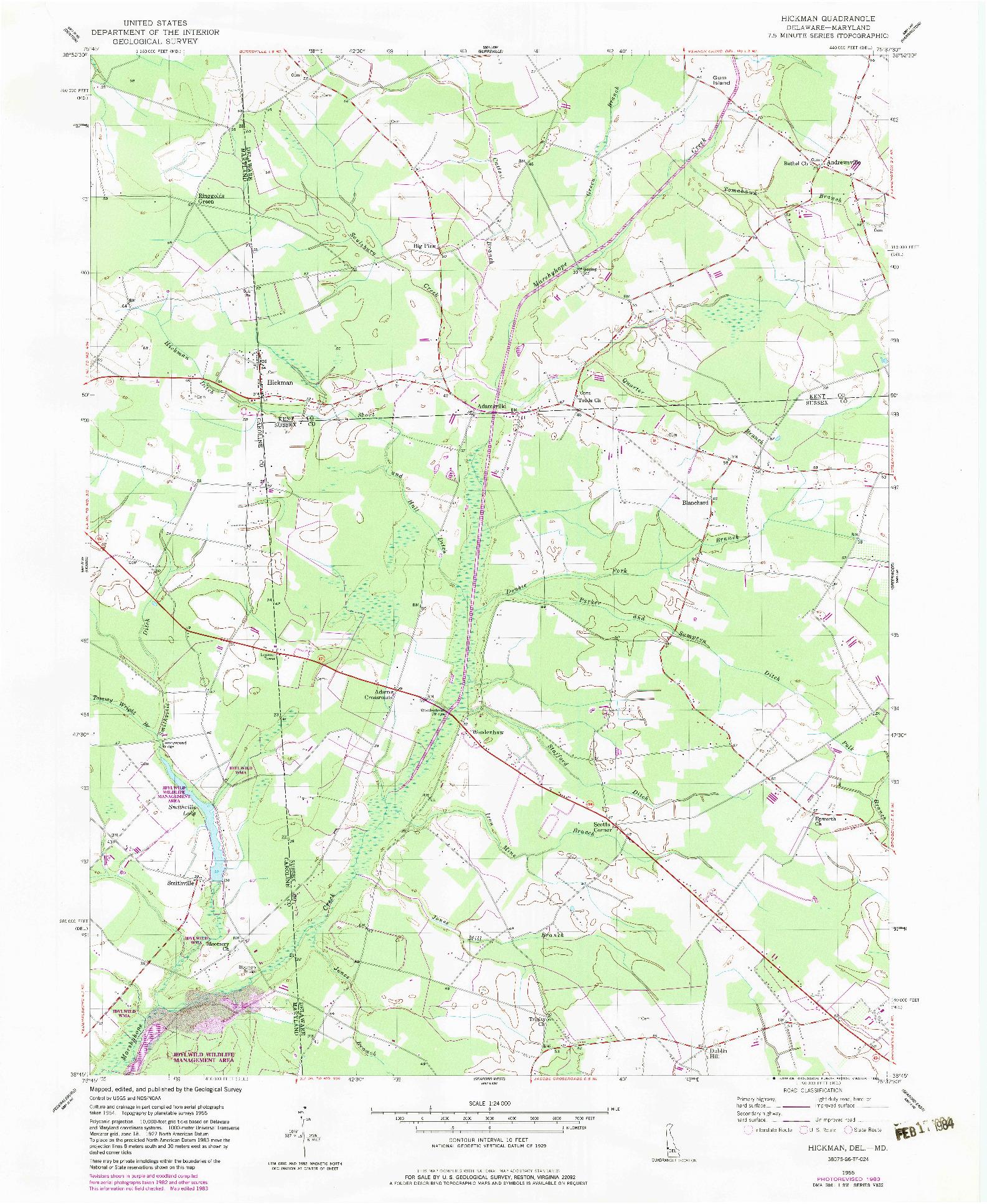 USGS 1:24000-SCALE QUADRANGLE FOR HICKMAN, DE 1955