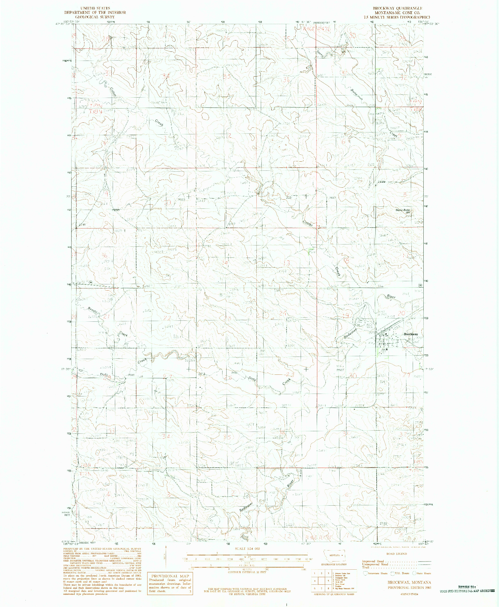 USGS 1:24000-SCALE QUADRANGLE FOR BROCKWAY, MT 1983