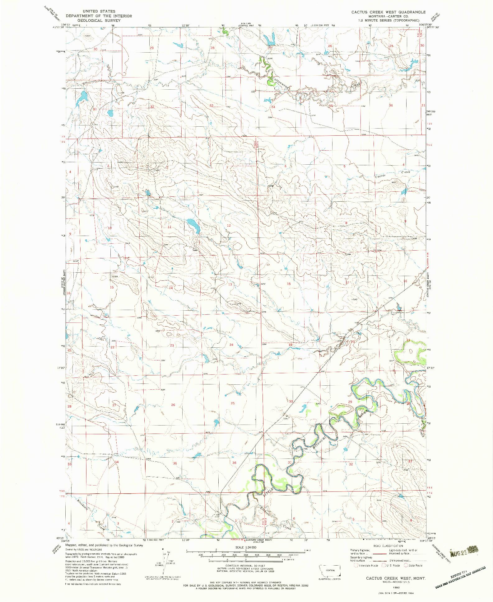 USGS 1:24000-SCALE QUADRANGLE FOR CACTUS CREEK WEST, MT 1980