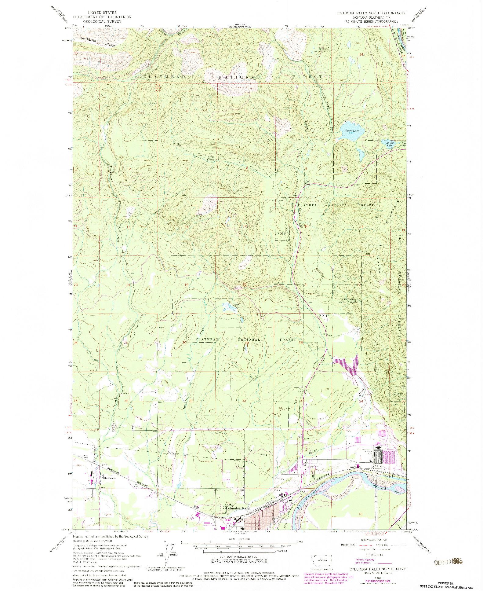 USGS 1:24000-SCALE QUADRANGLE FOR COLUMBIA FALLS NORTH, MT 1962