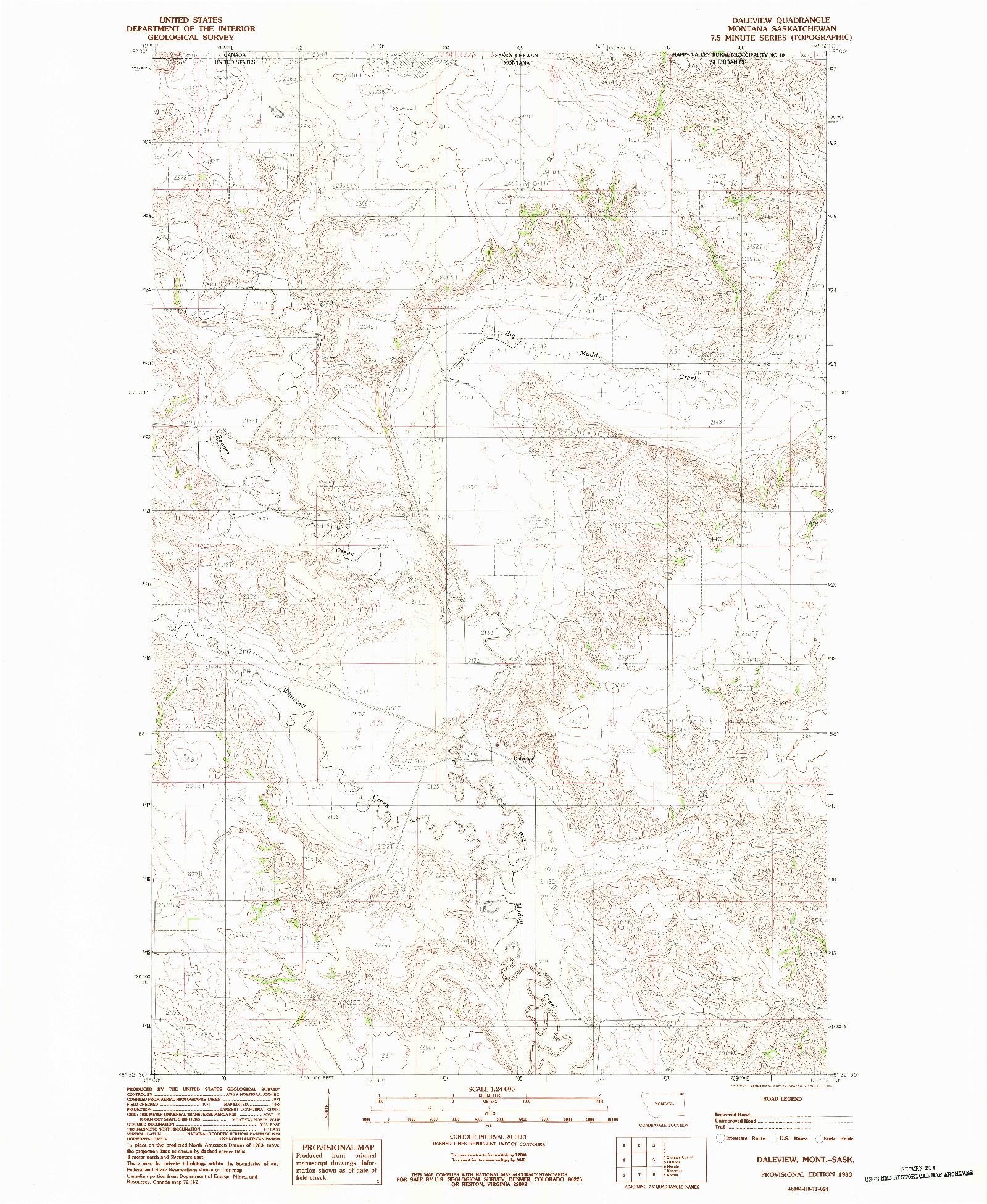 USGS 1:24000-SCALE QUADRANGLE FOR DALEVIEW, MT 1983