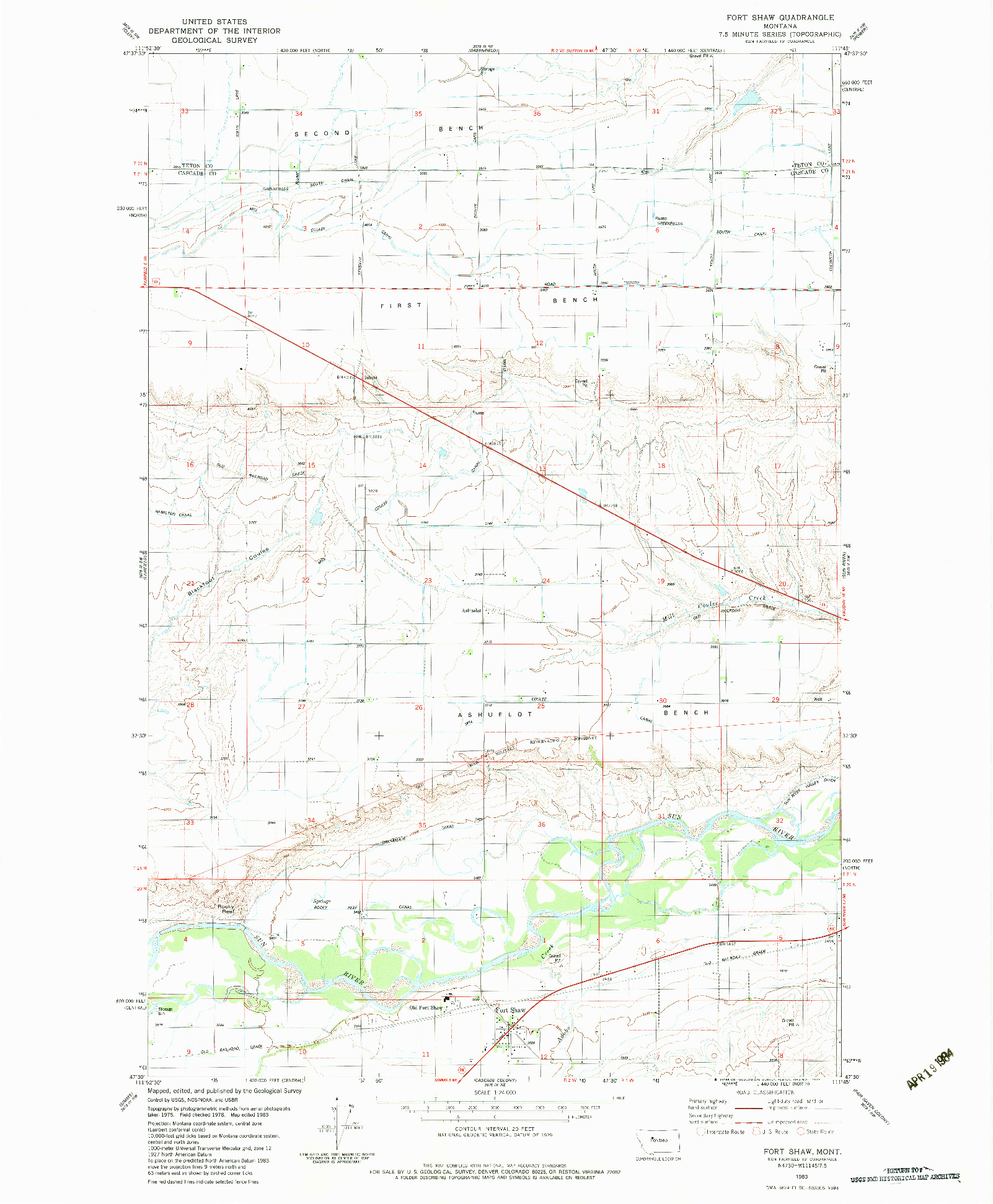 USGS 1:24000-SCALE QUADRANGLE FOR FORT SHAW, MT 1983