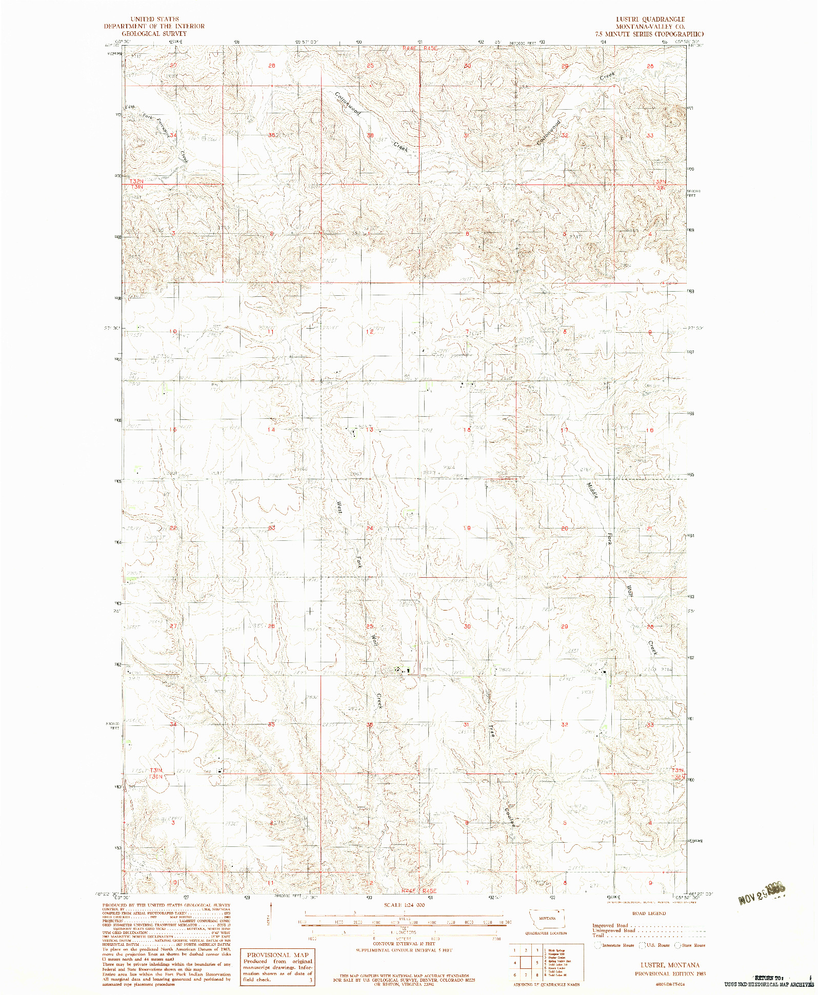 USGS 1:24000-SCALE QUADRANGLE FOR LUSTRE, MT 1983