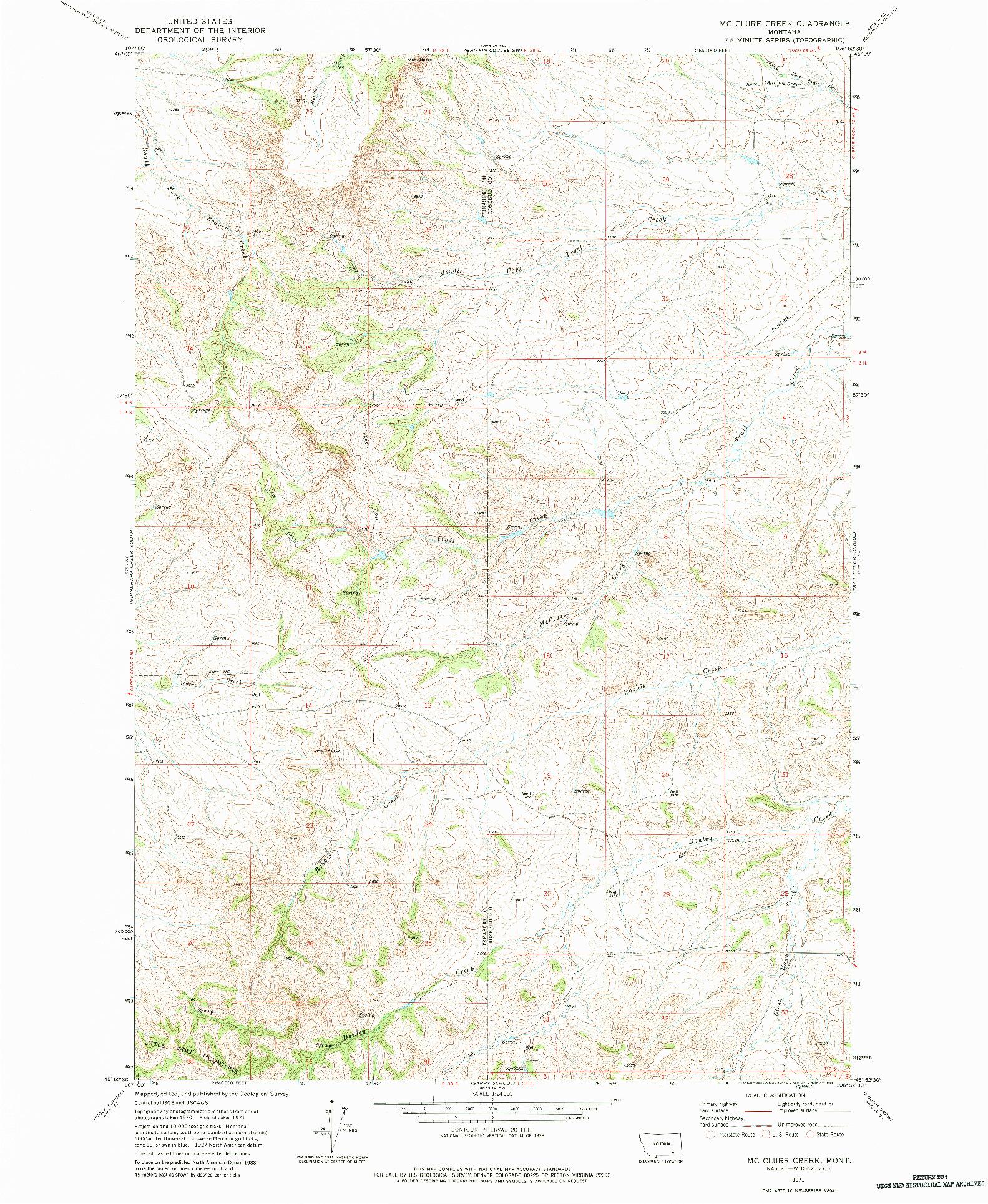USGS 1:24000-SCALE QUADRANGLE FOR MC CLURE CREEK, MT 1971