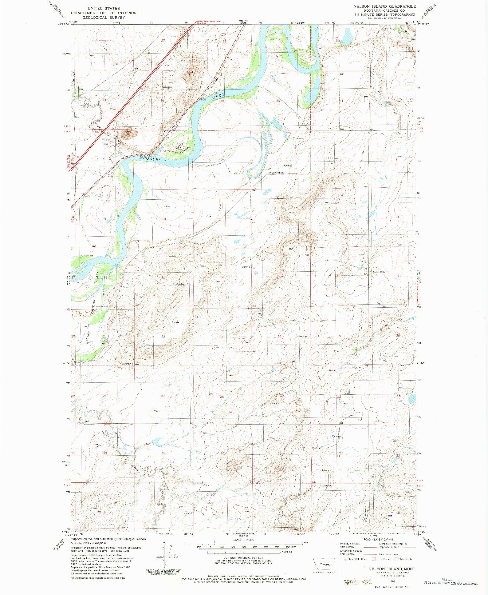 USGS 1:24000-SCALE QUADRANGLE FOR NELSON ISLAND, MT 1983