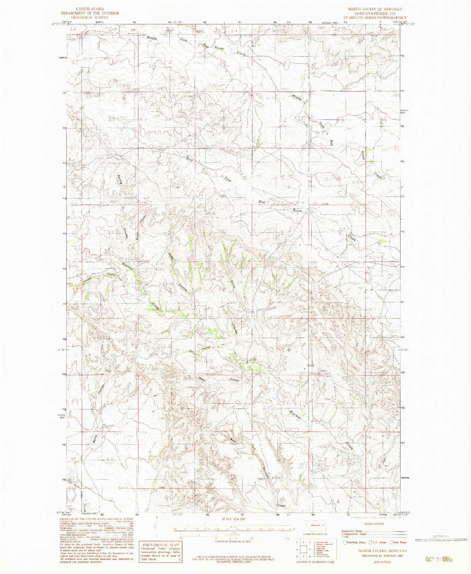 USGS 1:24000-SCALE QUADRANGLE FOR NORTH COULEE, MT 1983