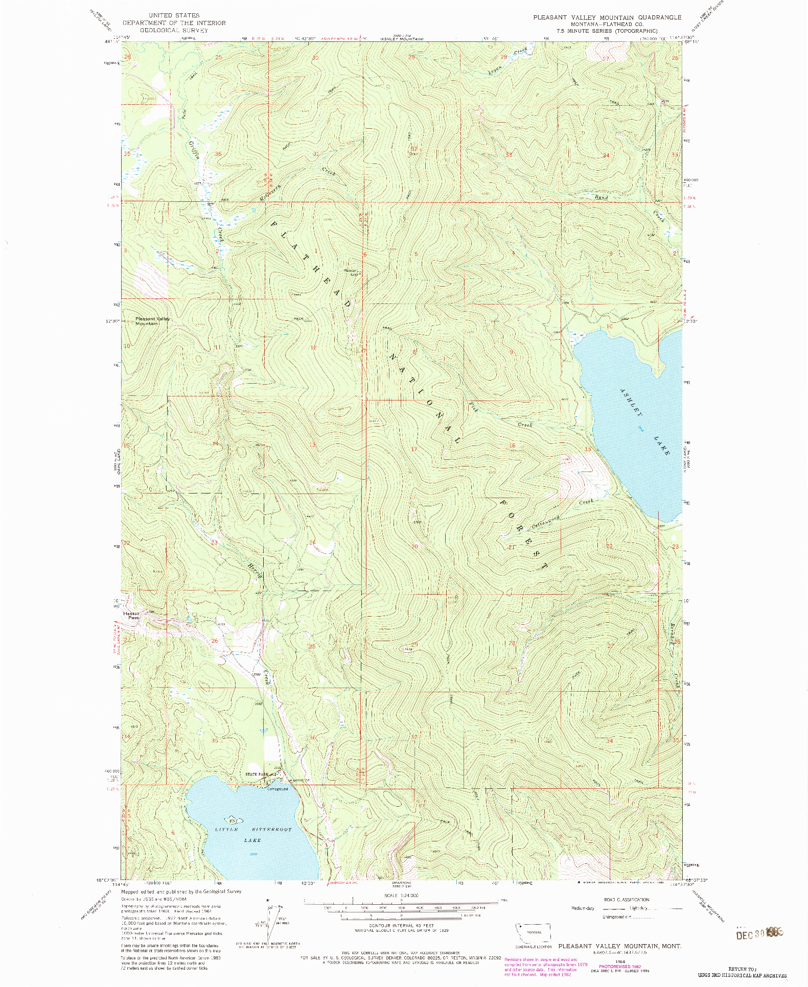 USGS 1:24000-SCALE QUADRANGLE FOR PLEASANT VALLEY MOUNTAIN, MT 1964
