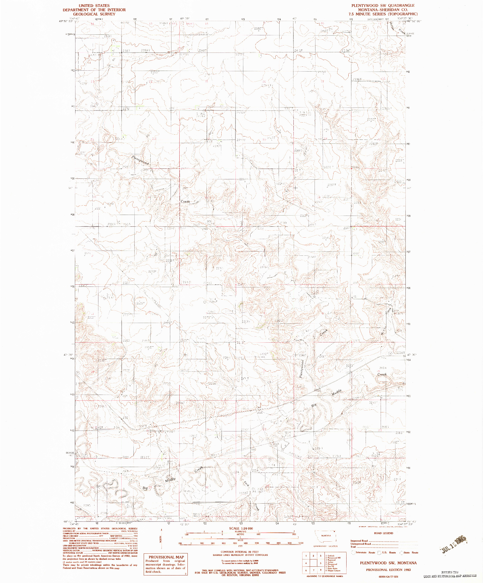 USGS 1:24000-SCALE QUADRANGLE FOR PLENTYWOOD SW, MT 1983