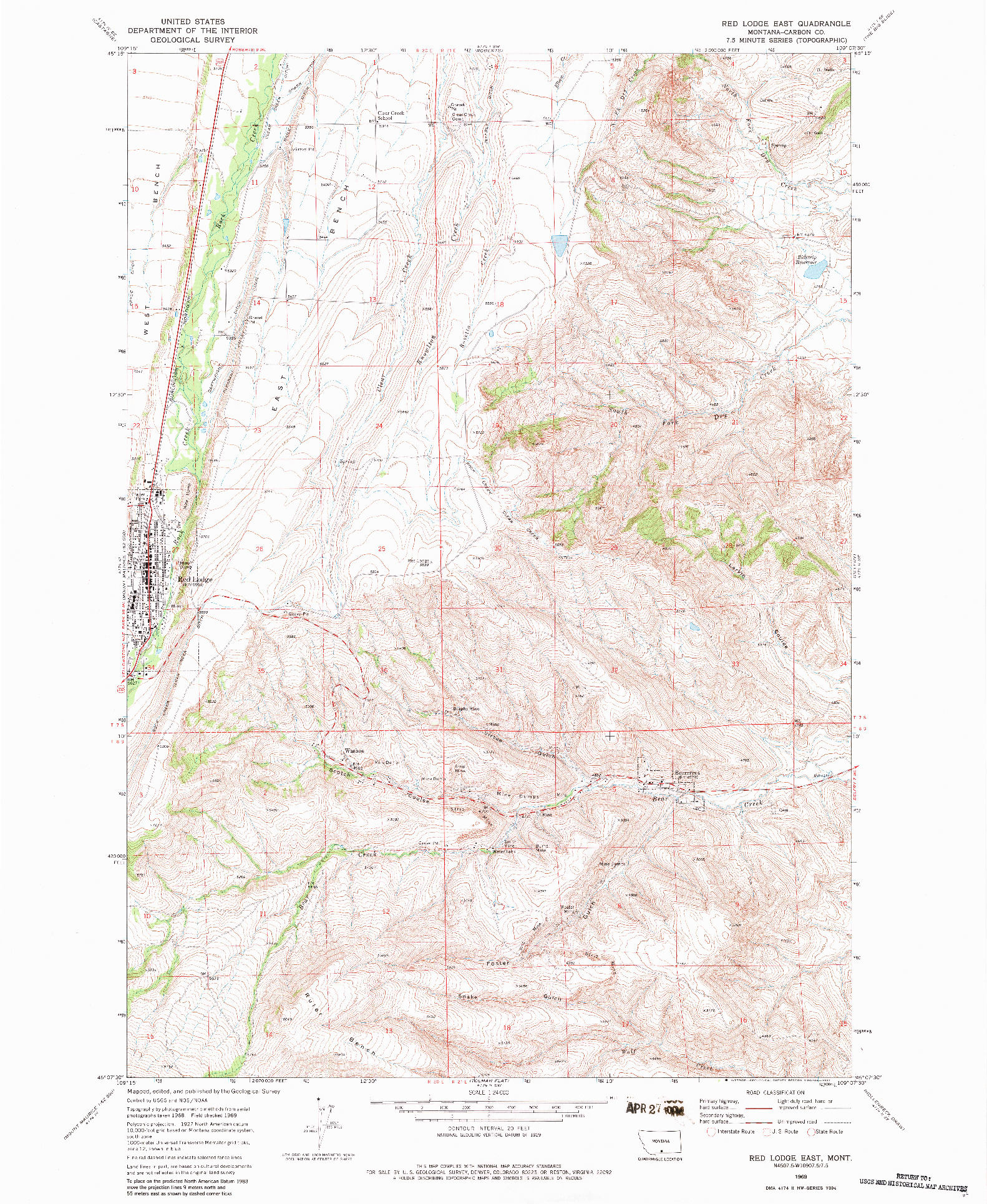 USGS 1:24000-SCALE QUADRANGLE FOR RED LODGE EAST, MT 1969
