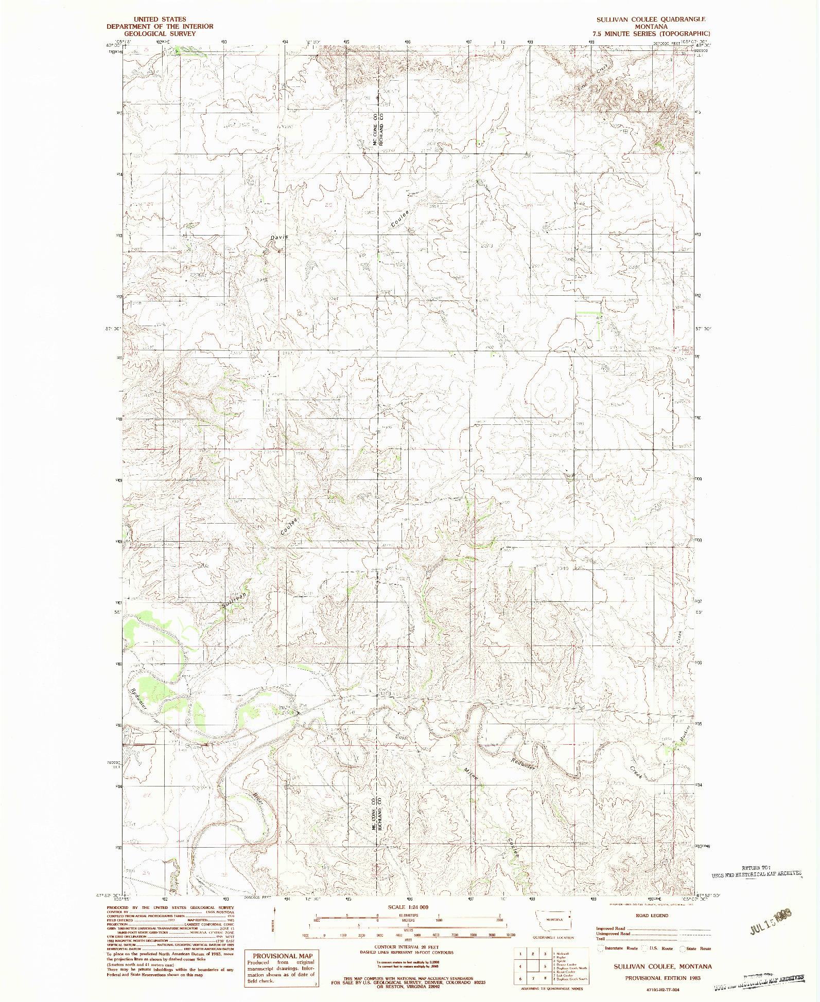 USGS 1:24000-SCALE QUADRANGLE FOR SULLIVAN COULEE, MT 1983