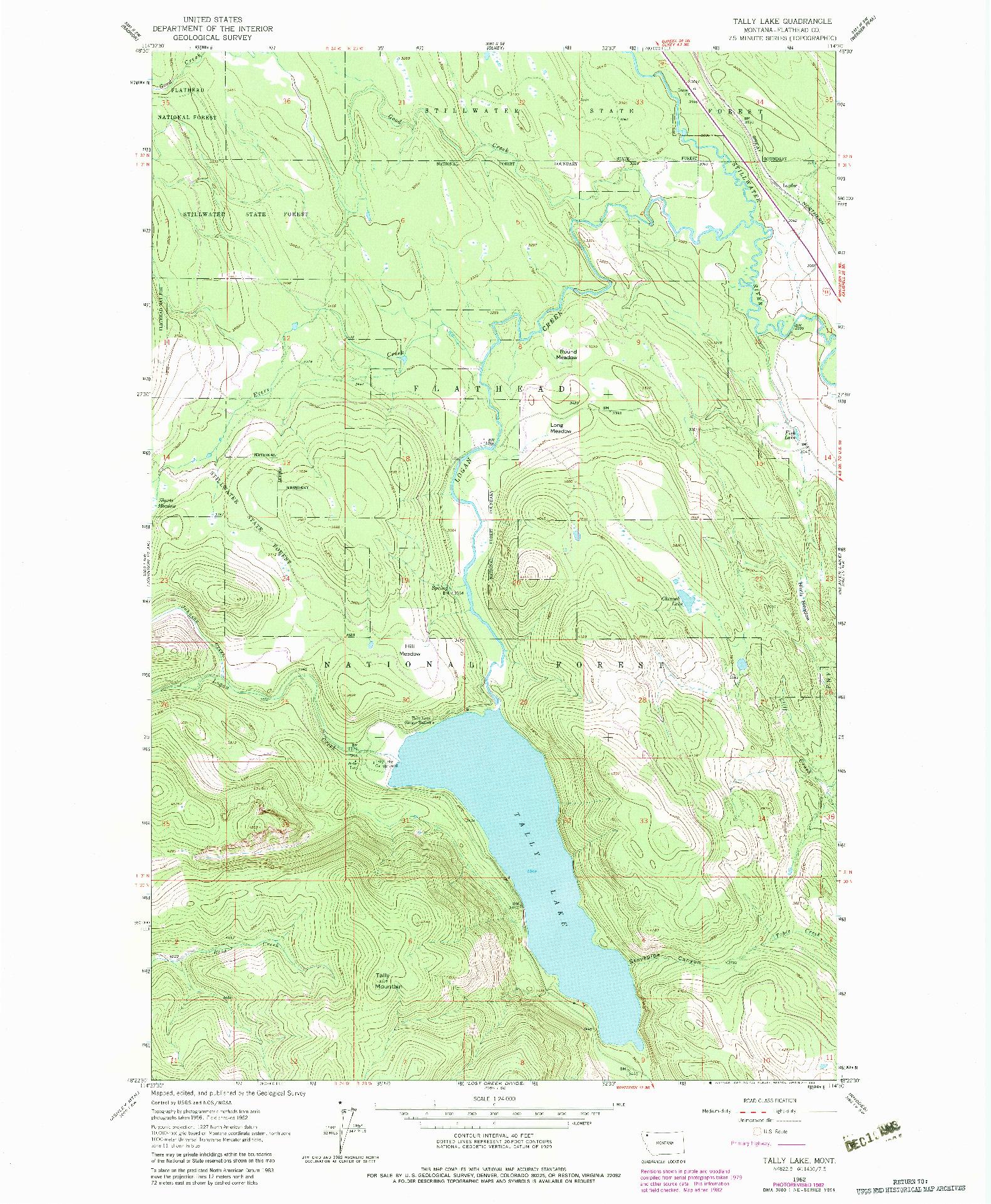 USGS 1:24000-SCALE QUADRANGLE FOR TALLY LAKE, MT 1962