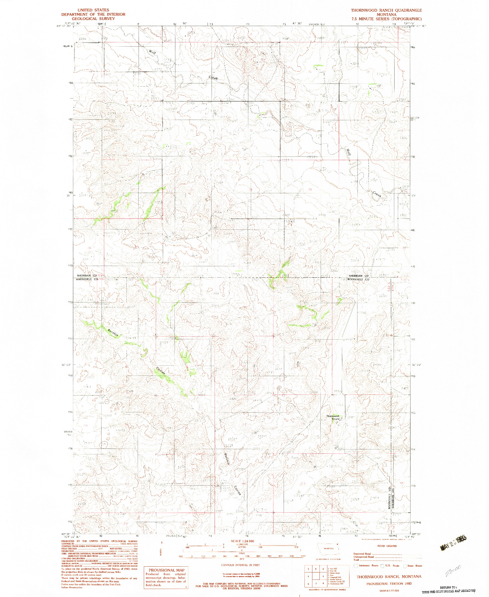 USGS 1:24000-SCALE QUADRANGLE FOR THORNWOOD RANCH, MT 1983