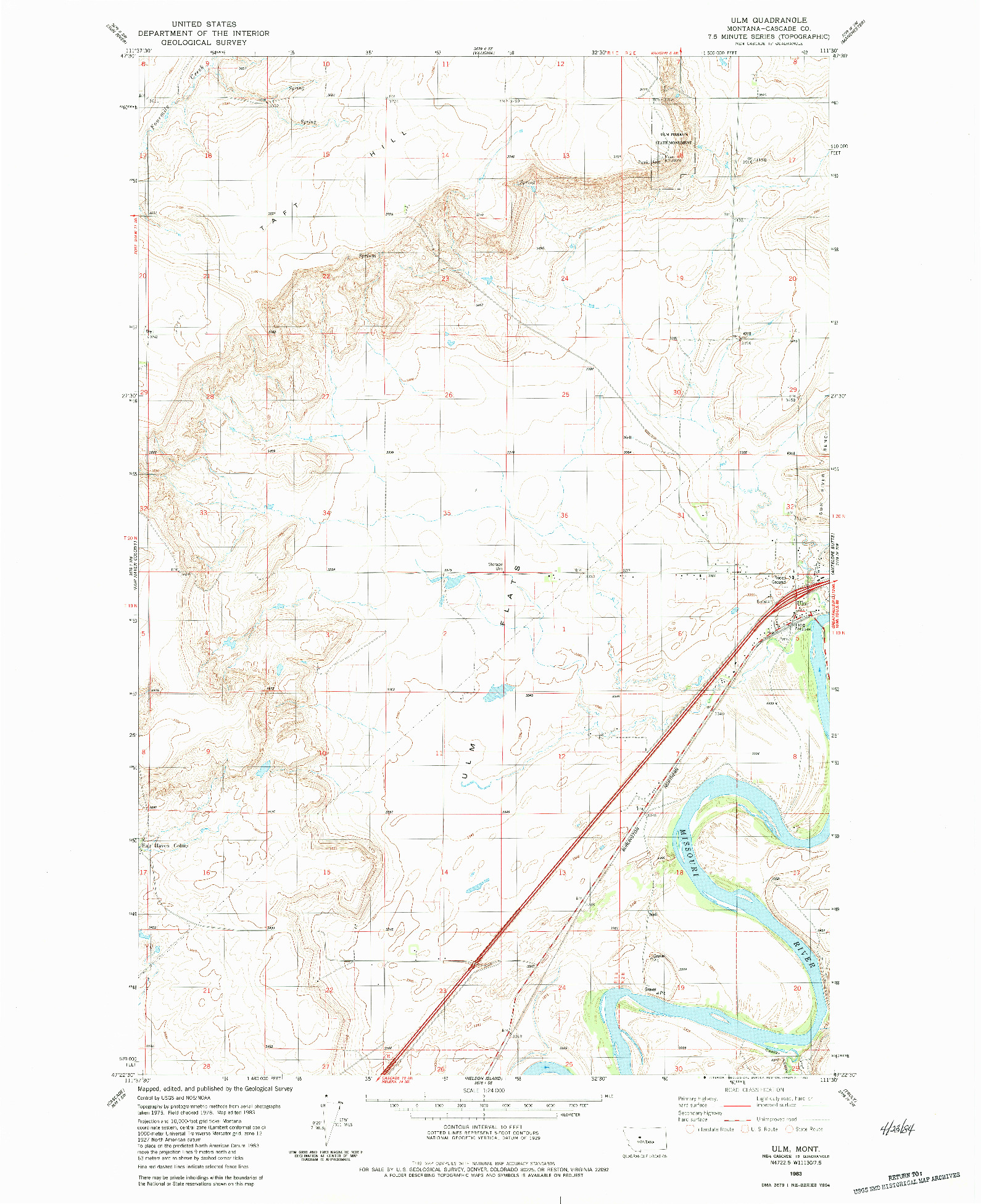 USGS 1:24000-SCALE QUADRANGLE FOR ULM, MT 1983