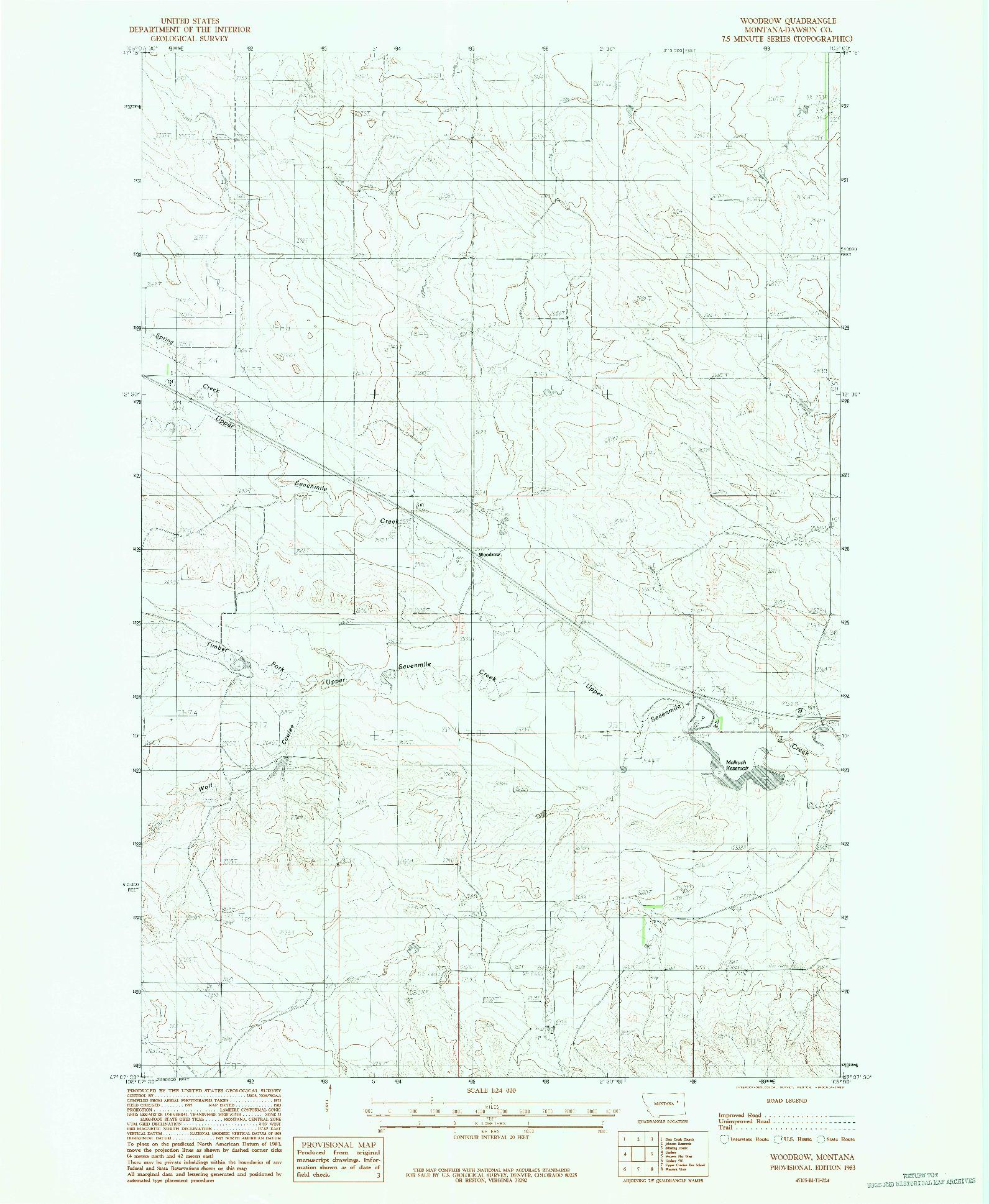 USGS 1:24000-SCALE QUADRANGLE FOR WOODROW, MT 1983