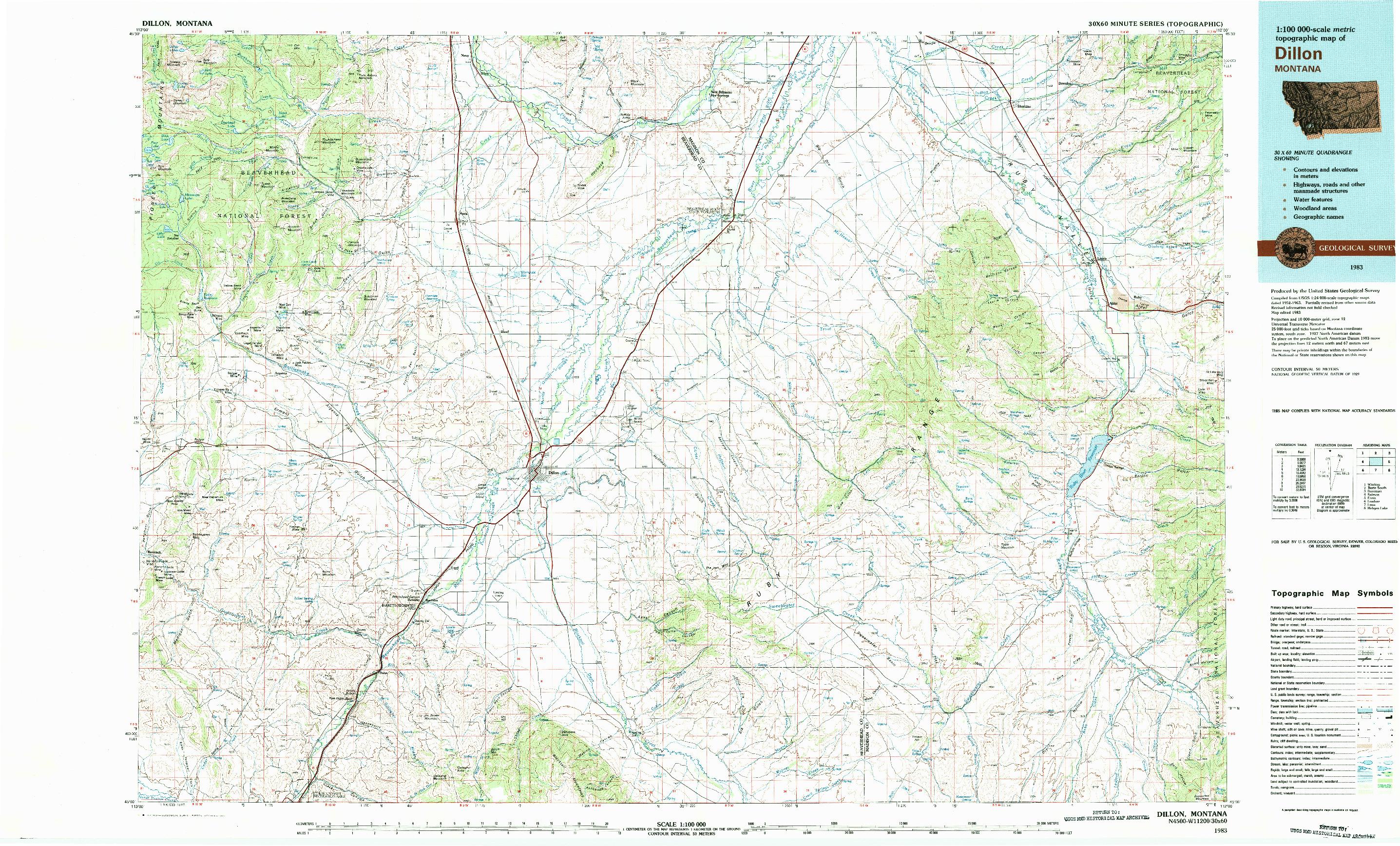 USGS 1:100000-SCALE QUADRANGLE FOR DILLON, MT 1983
