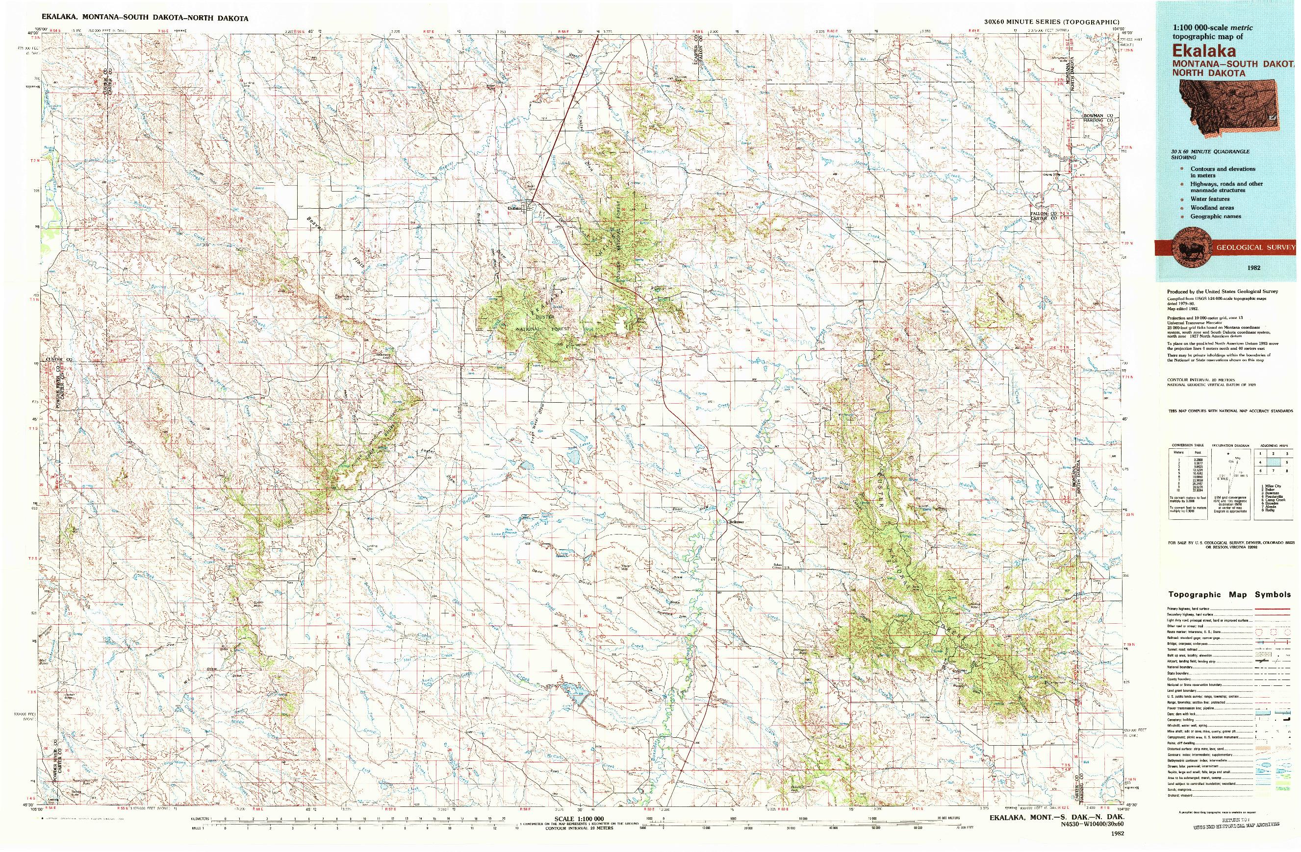 USGS 1:100000-SCALE QUADRANGLE FOR EKALAKA, MT 1982