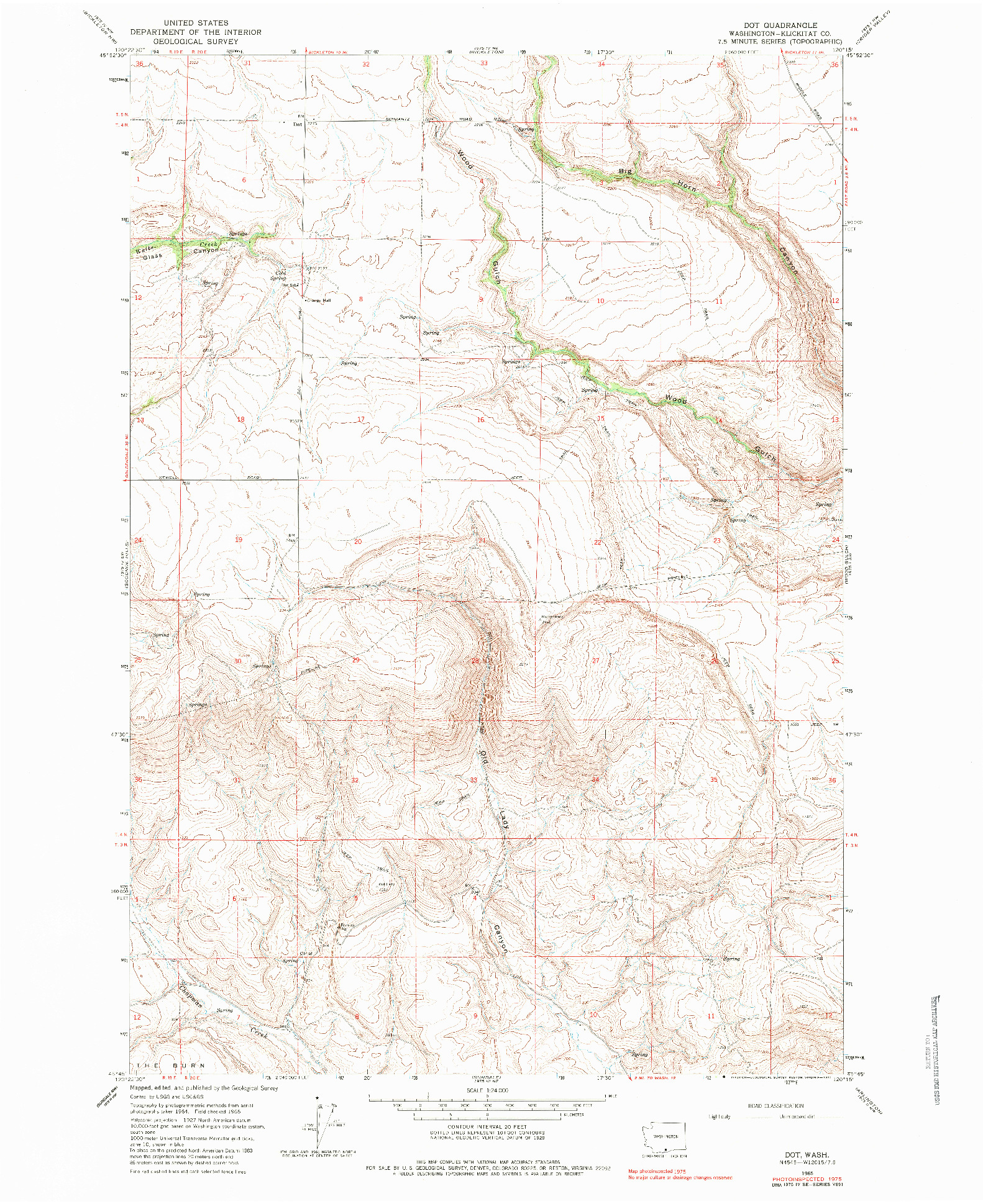 USGS 1:24000-SCALE QUADRANGLE FOR DOT, WA 1965