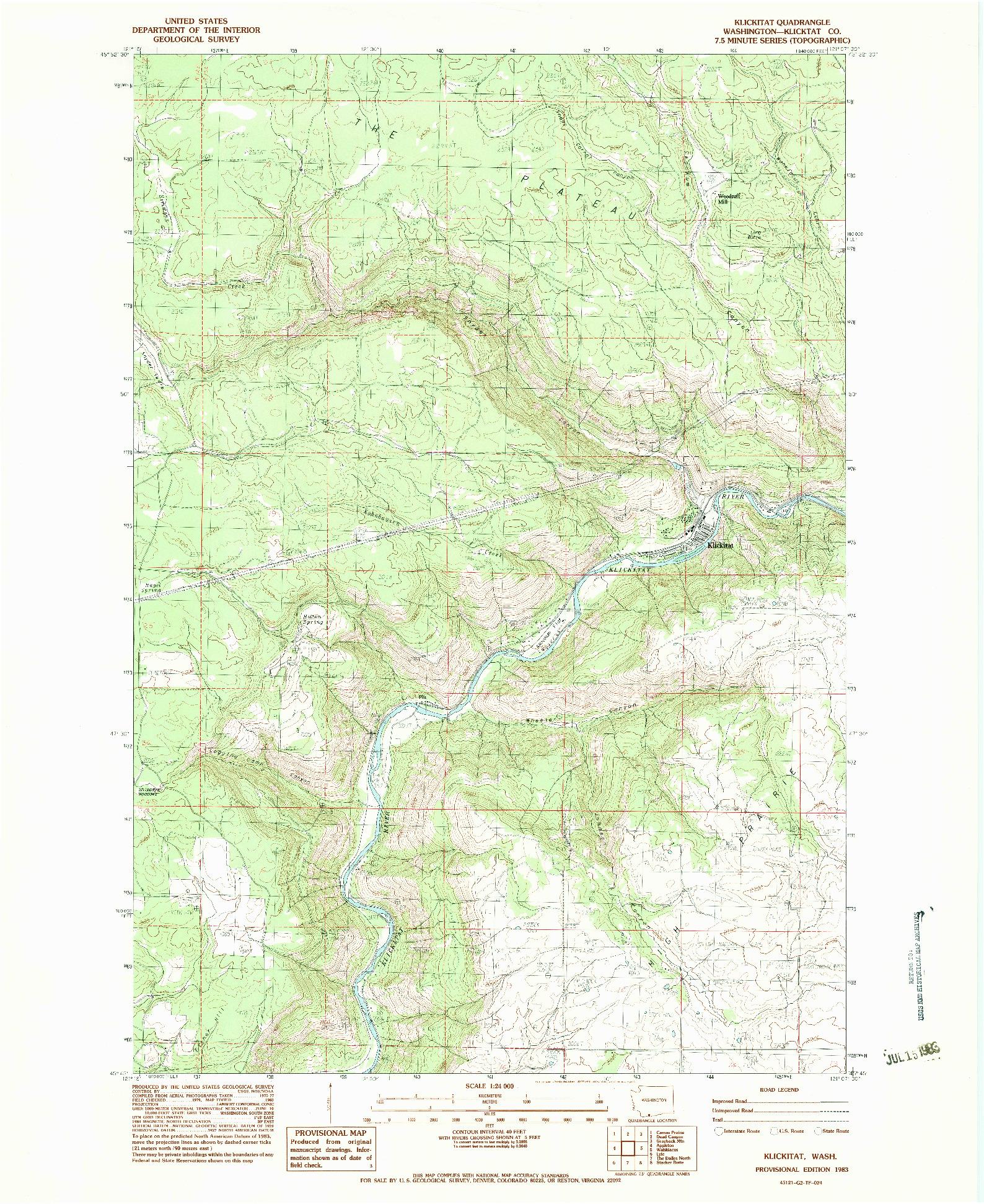 USGS 1:24000-SCALE QUADRANGLE FOR KLICKITAT, WA 1983