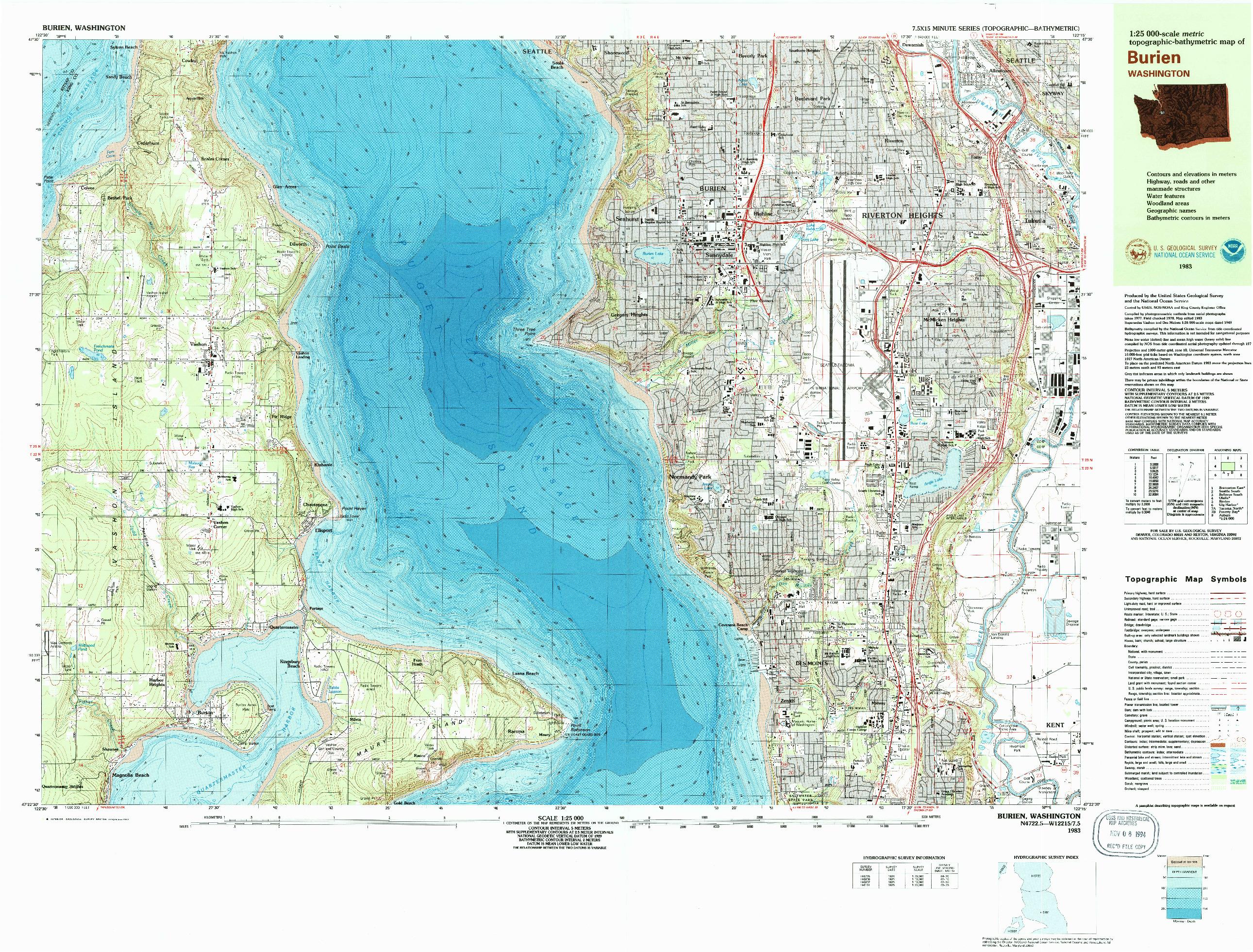USGS 1:25000-SCALE QUADRANGLE FOR BURIEN, WA 1983