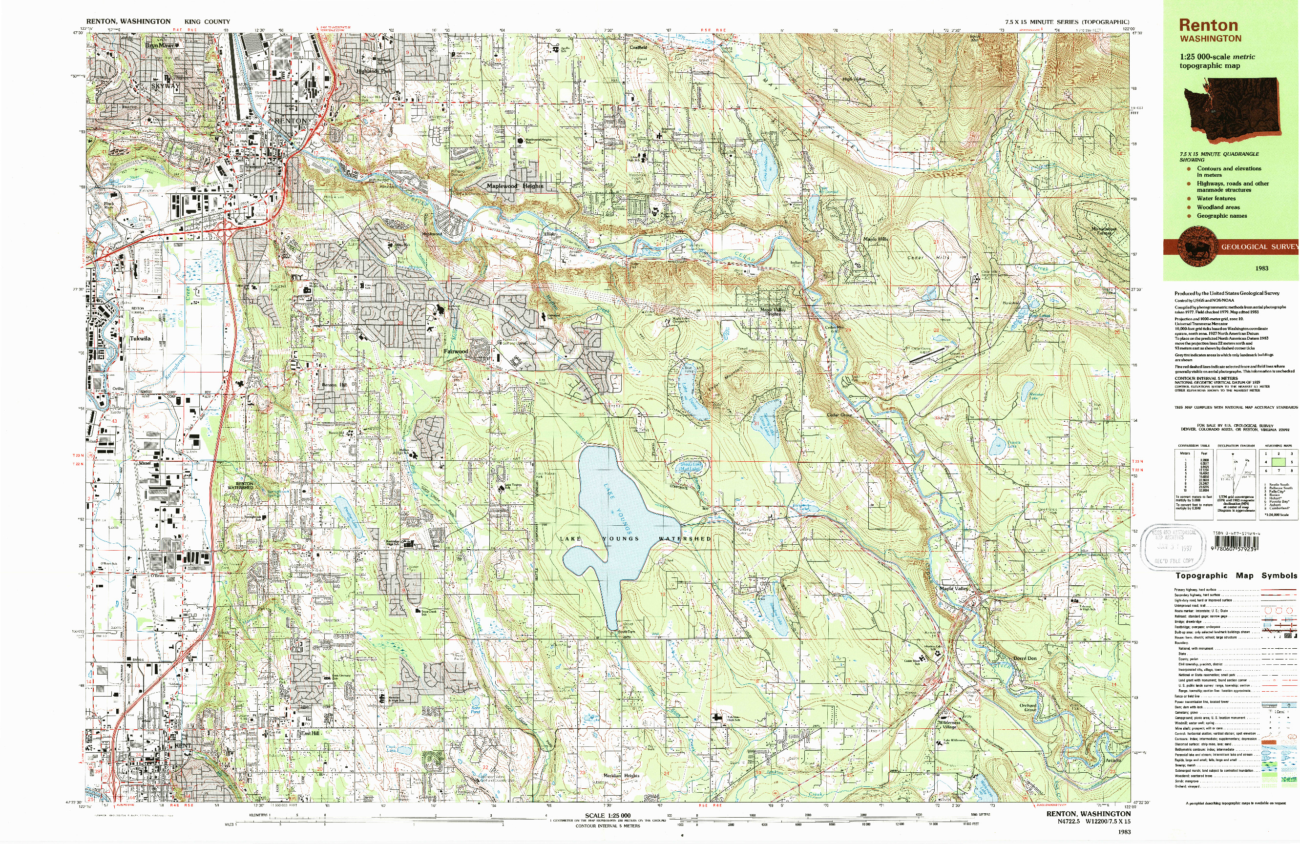 USGS 1:25000-SCALE QUADRANGLE FOR RENTON, WA 1983