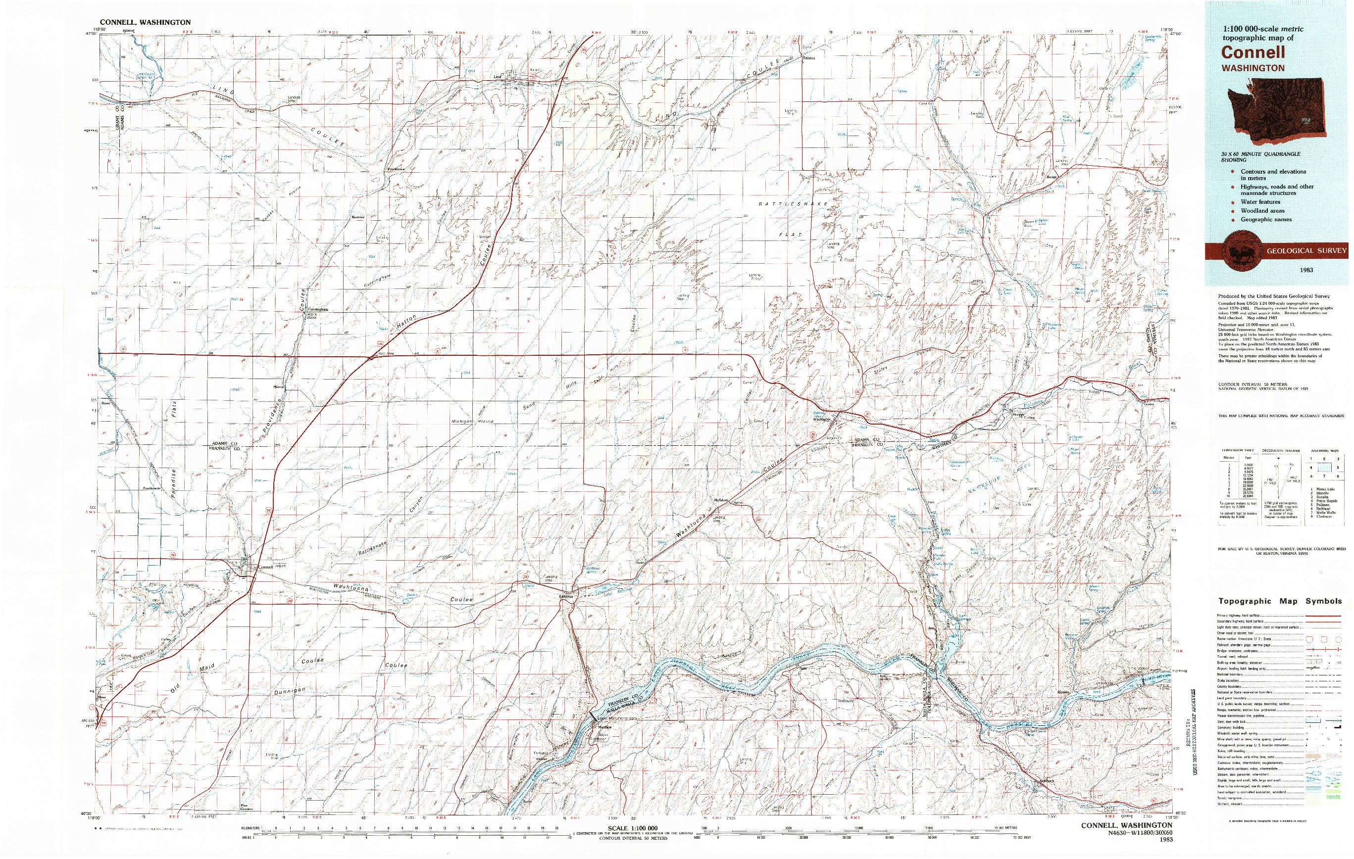 USGS 1:100000-SCALE QUADRANGLE FOR CONNELL, WA 1983