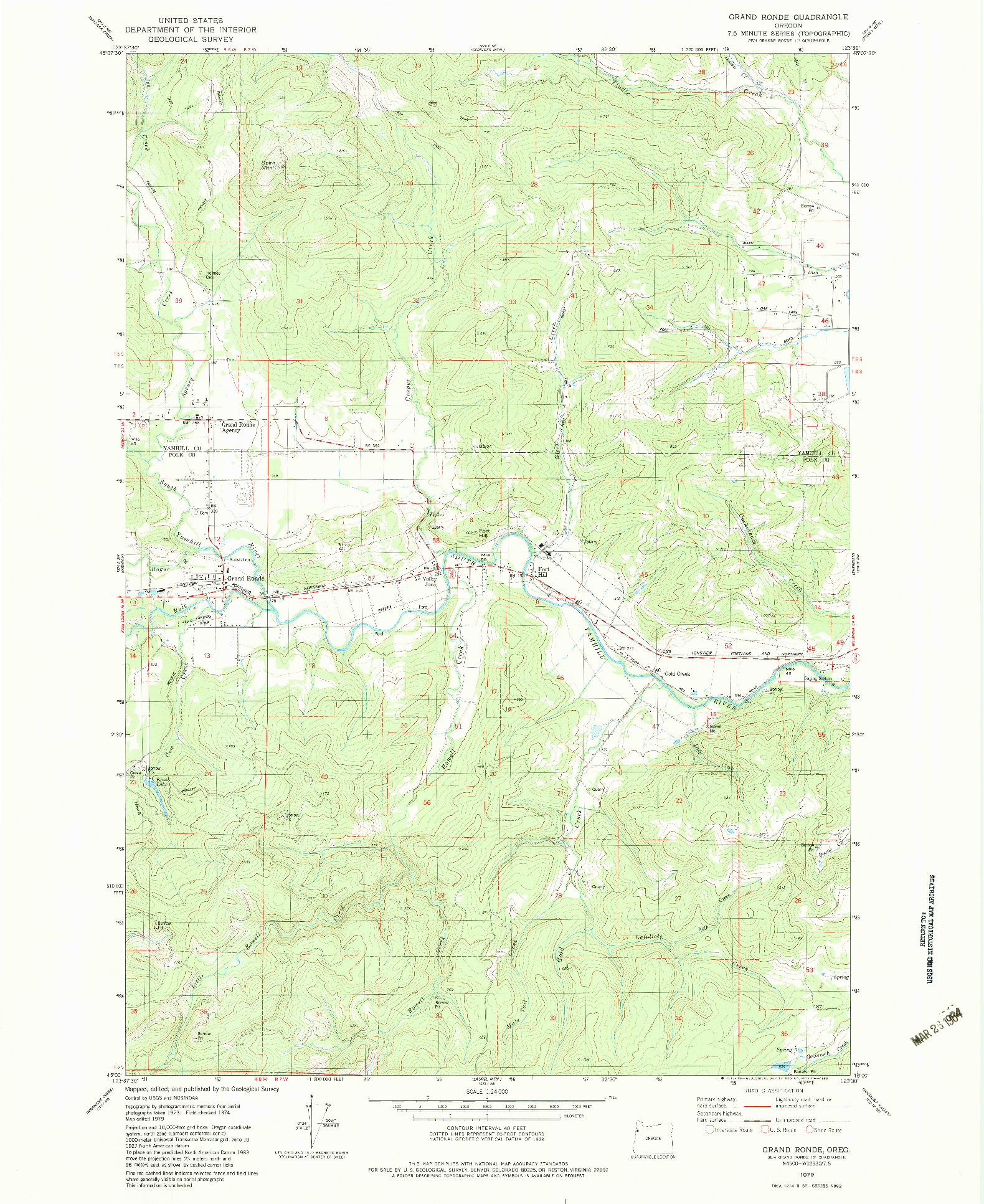 USGS 1:24000-SCALE QUADRANGLE FOR GRAND RONDE, OR 1979