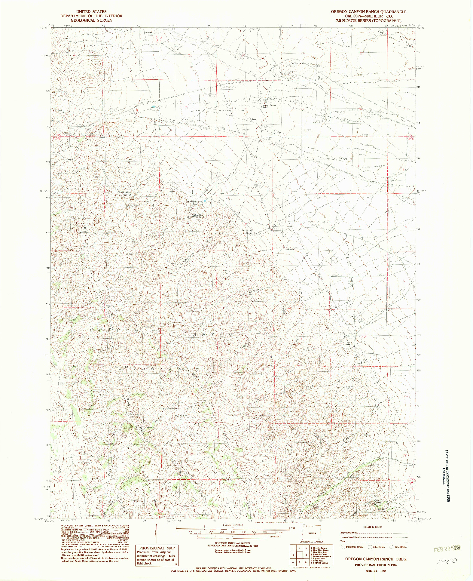 USGS 1:24000-SCALE QUADRANGLE FOR OREGON CANYON RANCH, OR 1982