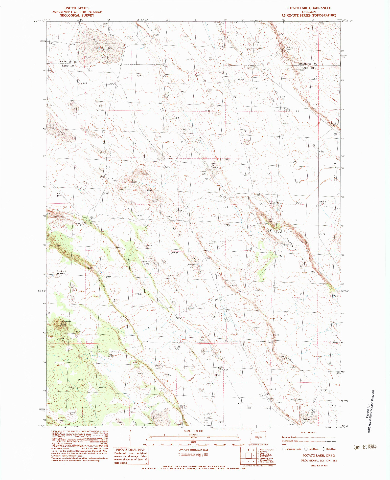 USGS 1:24000-SCALE QUADRANGLE FOR POTATO LAKE, OR 1983