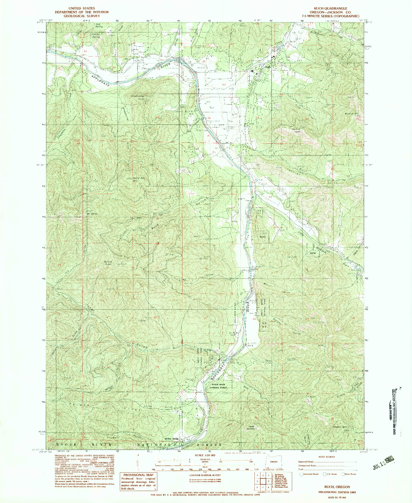 USGS 1:24000-SCALE QUADRANGLE FOR RUCH, OR 1983