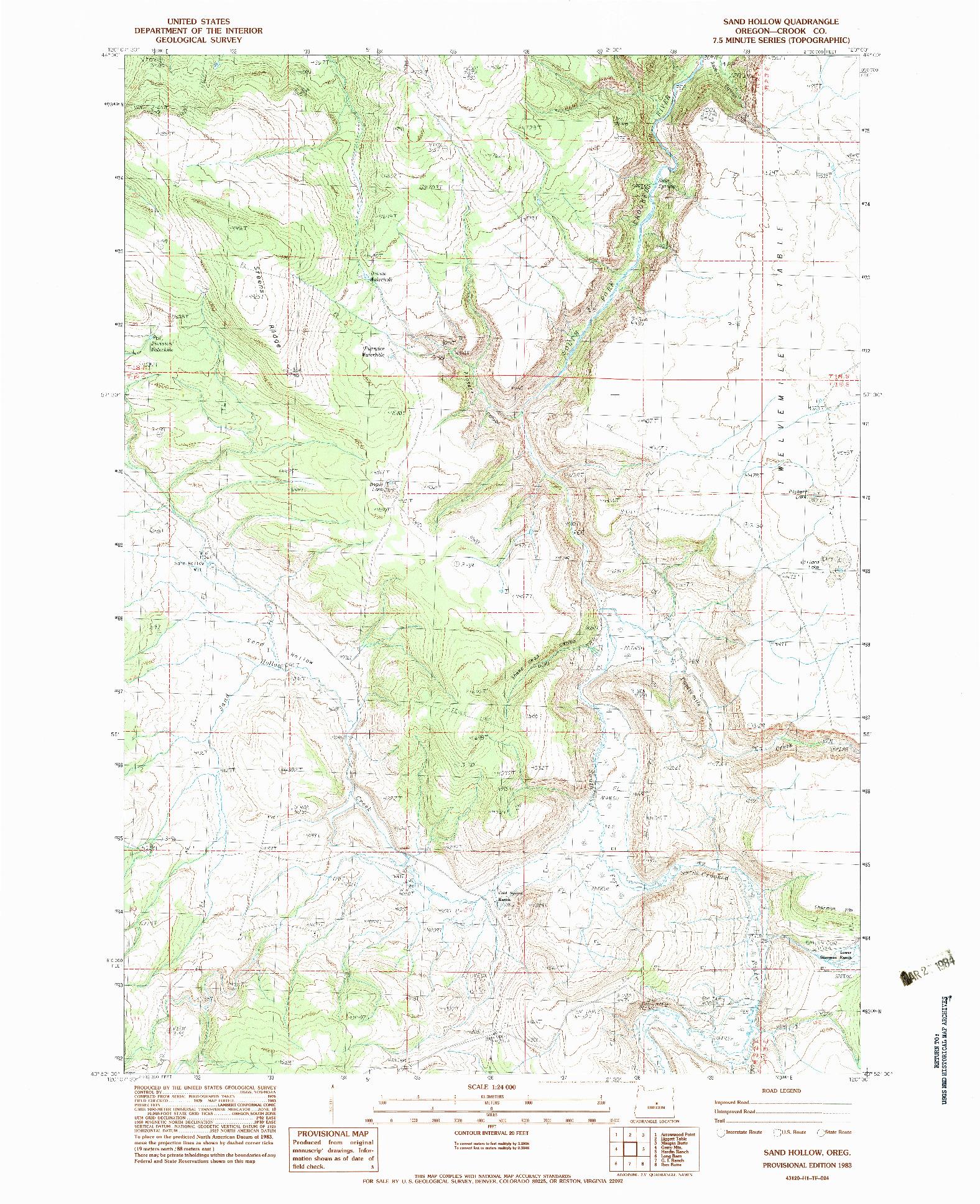 USGS 1:24000-SCALE QUADRANGLE FOR SAND HOLLOW, OR 1983