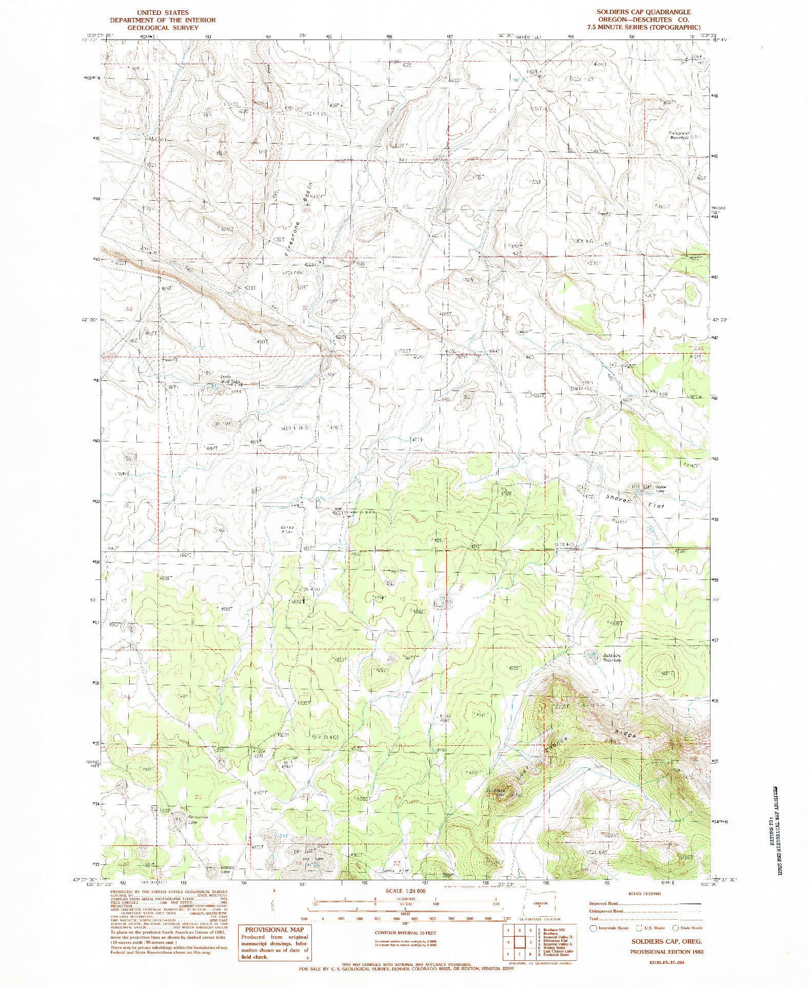 USGS 1:24000-SCALE QUADRANGLE FOR SOLDIERS CAP, OR 1983