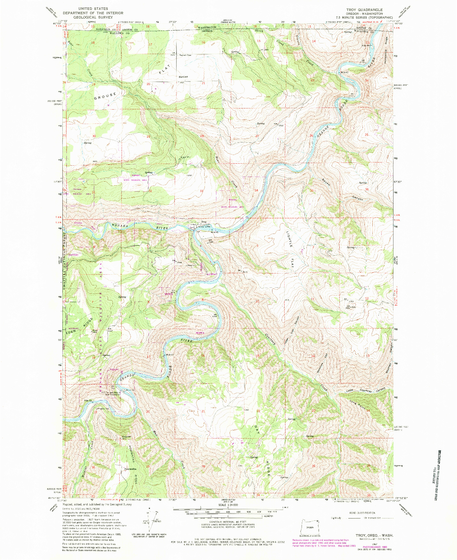 USGS 1:24000-SCALE QUADRANGLE FOR TROY, OR 1967