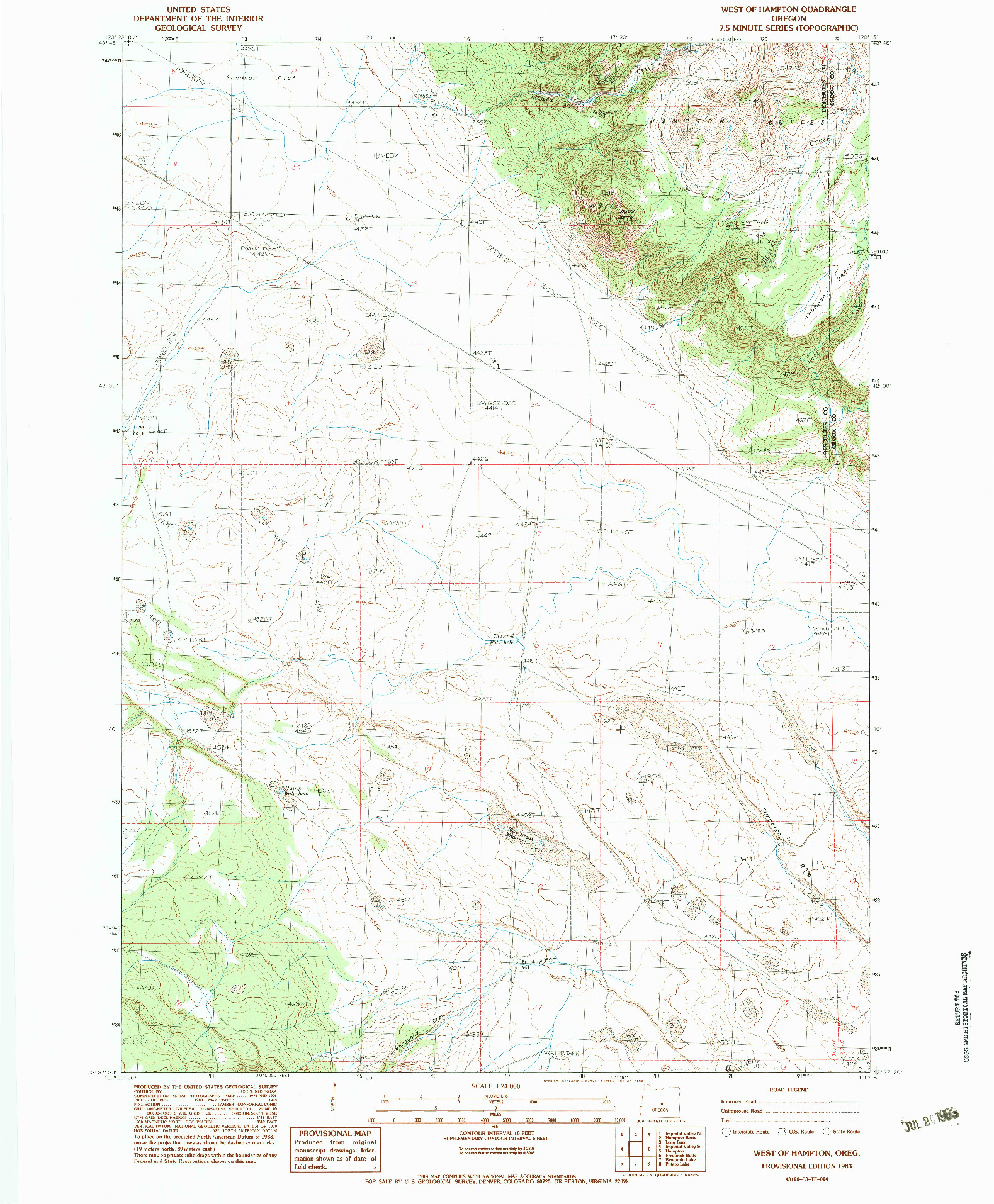 USGS 1:24000-SCALE QUADRANGLE FOR WEST OF HAMPTON, OR 1983