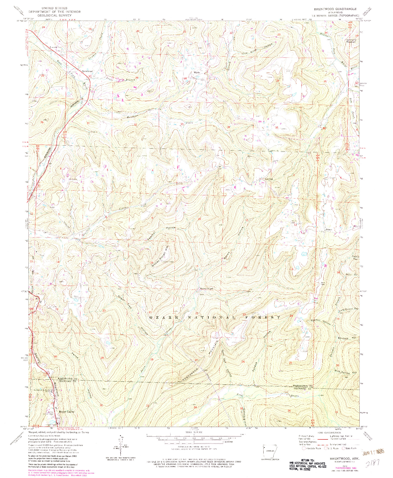 USGS 1:24000-SCALE QUADRANGLE FOR BRENTWOOD, AR 1973