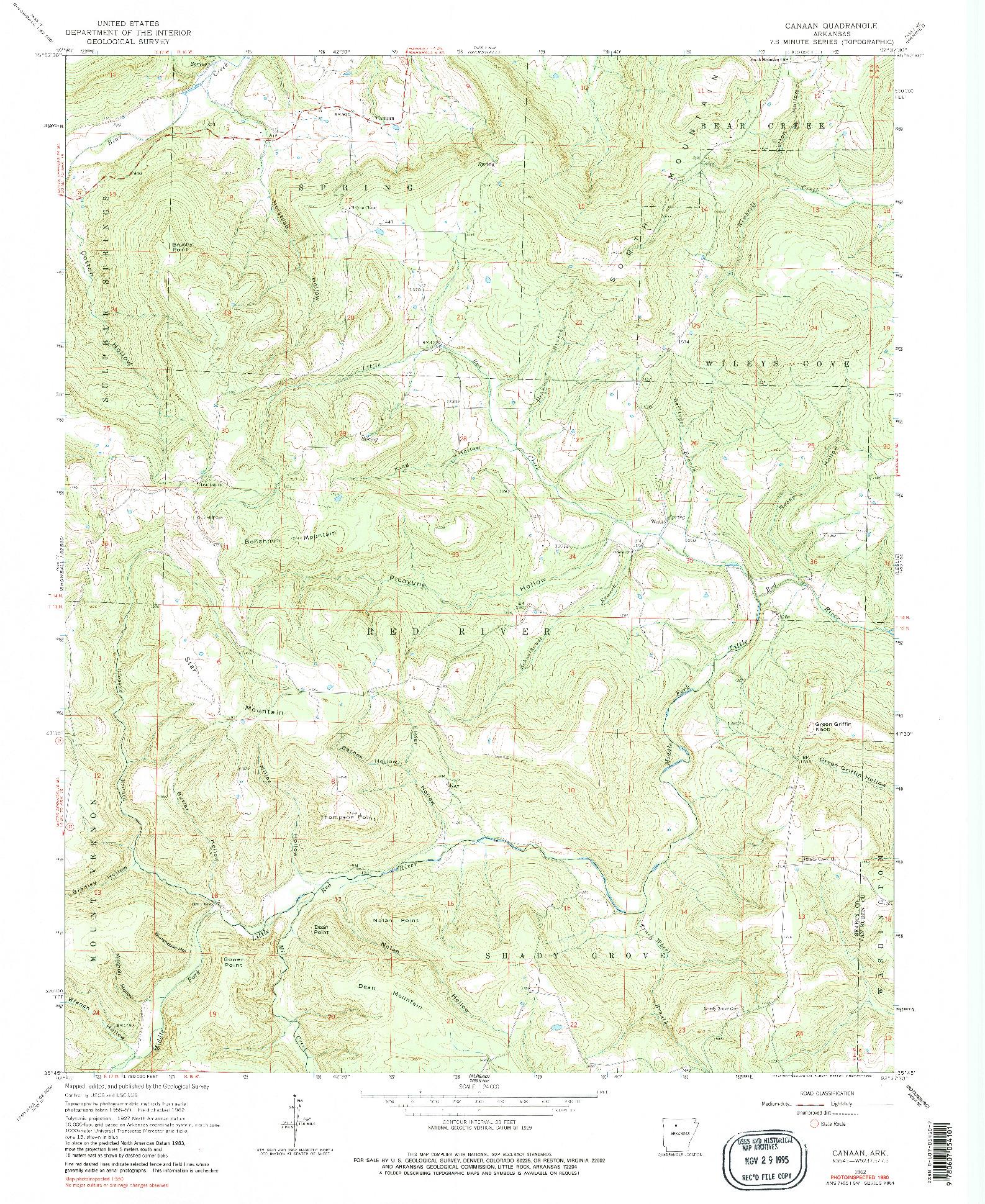USGS 1:24000-SCALE QUADRANGLE FOR CANAAN, AR 1962