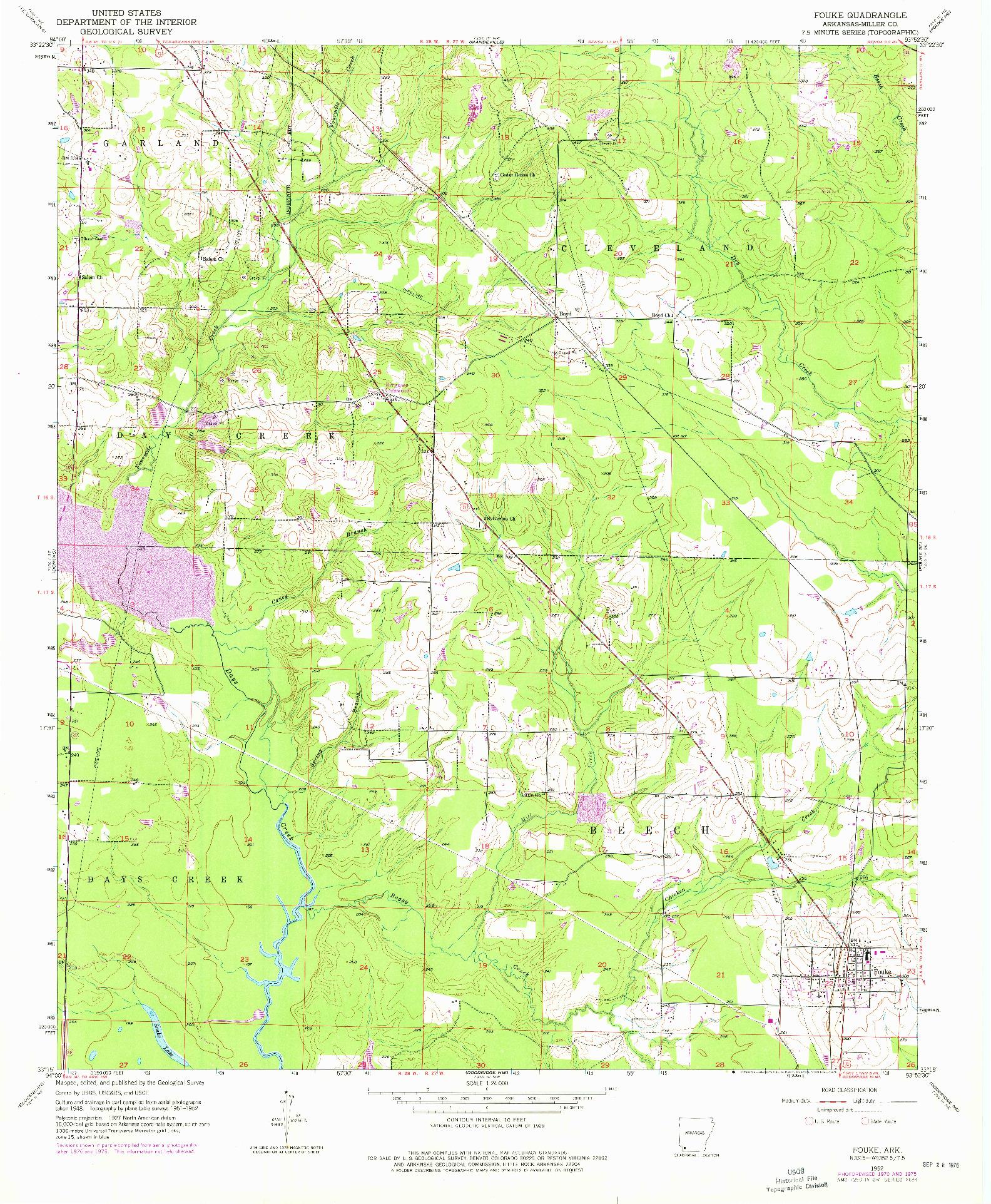 USGS 1:24000-SCALE QUADRANGLE FOR FOUKE, AR 1952