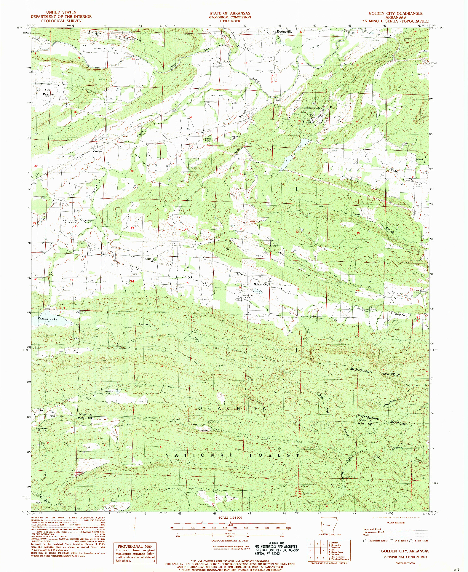 USGS 1:24000-SCALE QUADRANGLE FOR GOLDEN CITY, AR 1983
