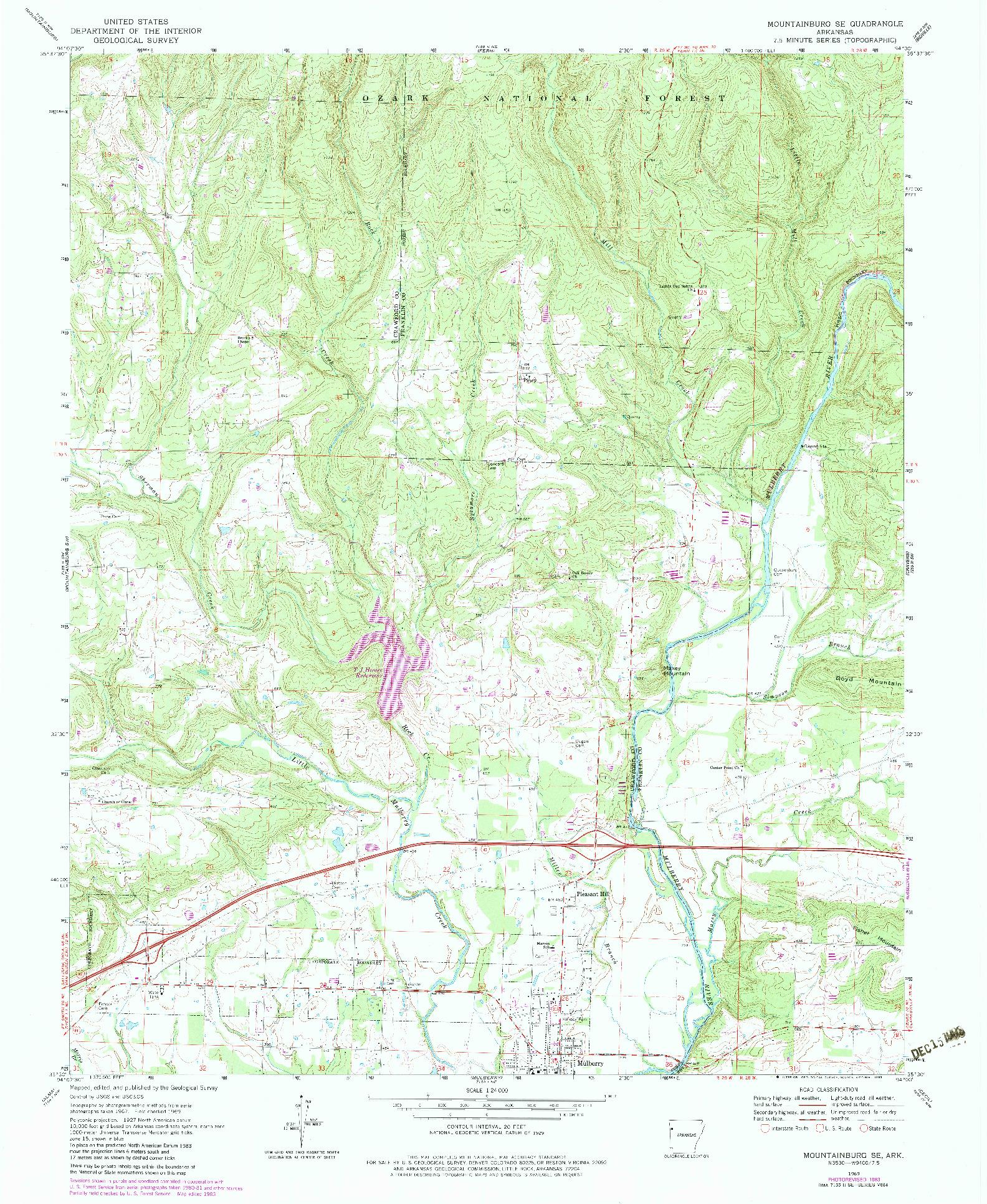 USGS 1:24000-SCALE QUADRANGLE FOR MOUNTAINBURG SE, AR 1969