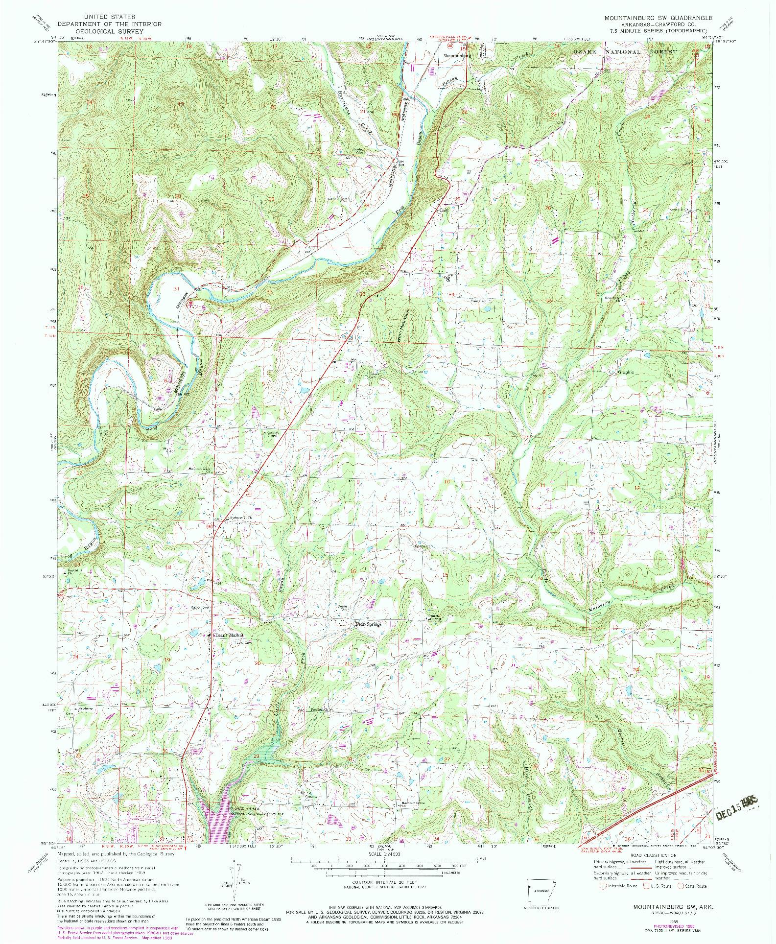 USGS 1:24000-SCALE QUADRANGLE FOR MOUNTAINBURG SW, AR 1969