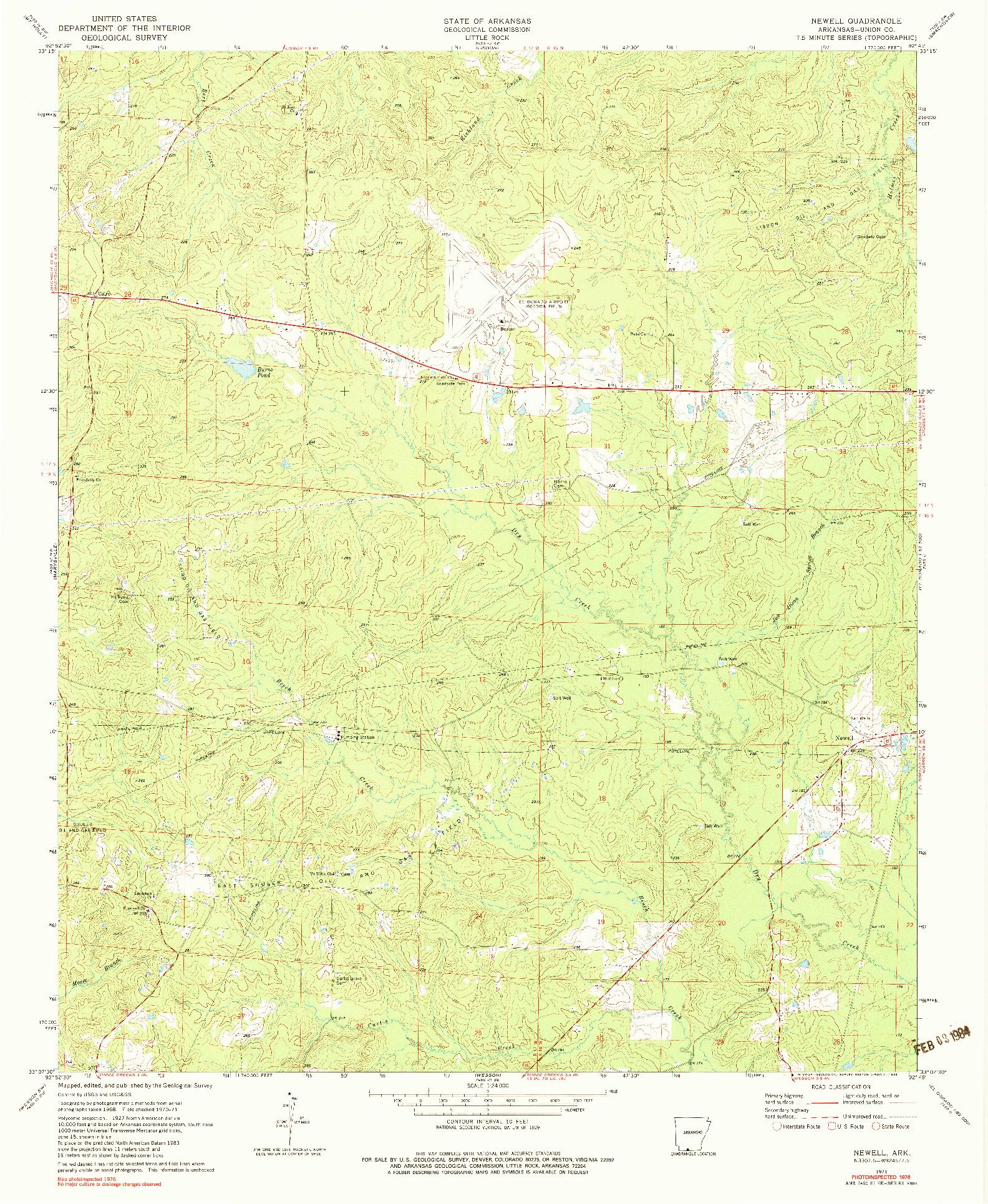 USGS 1:24000-SCALE QUADRANGLE FOR NEWELL, AR 1971