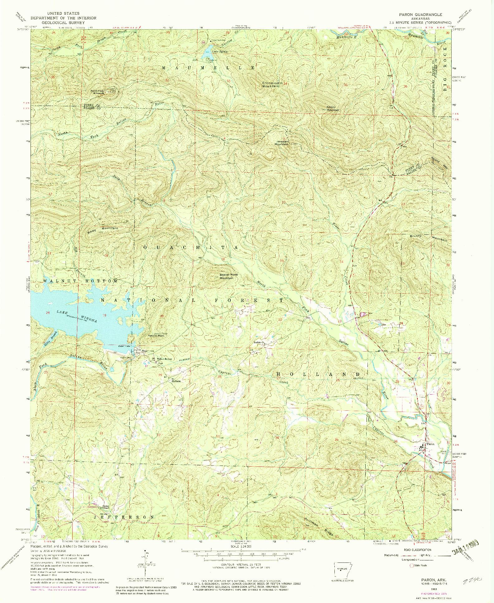 USGS 1:24000-SCALE QUADRANGLE FOR PARON, AR 1963