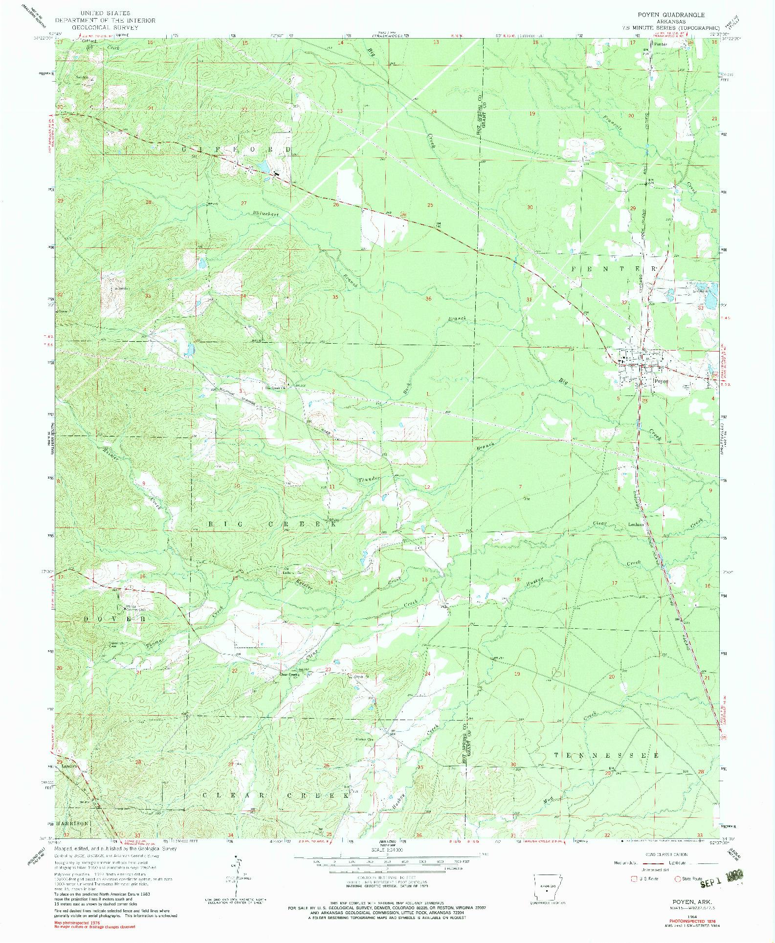 USGS 1:24000-SCALE QUADRANGLE FOR POYEN, AR 1964