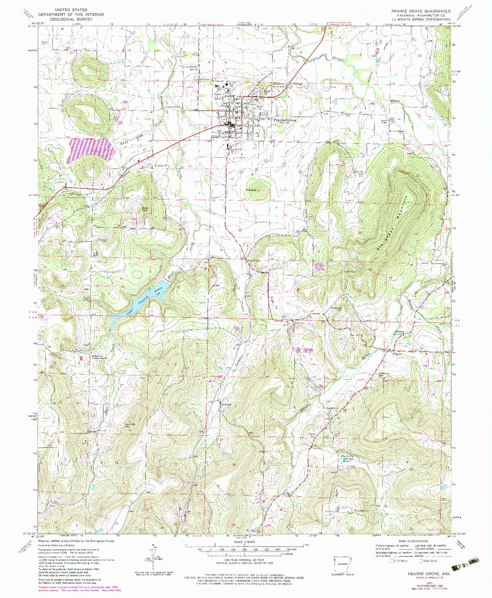 USGS 1:24000-SCALE QUADRANGLE FOR PRAIRIE GROVE, AR 1970