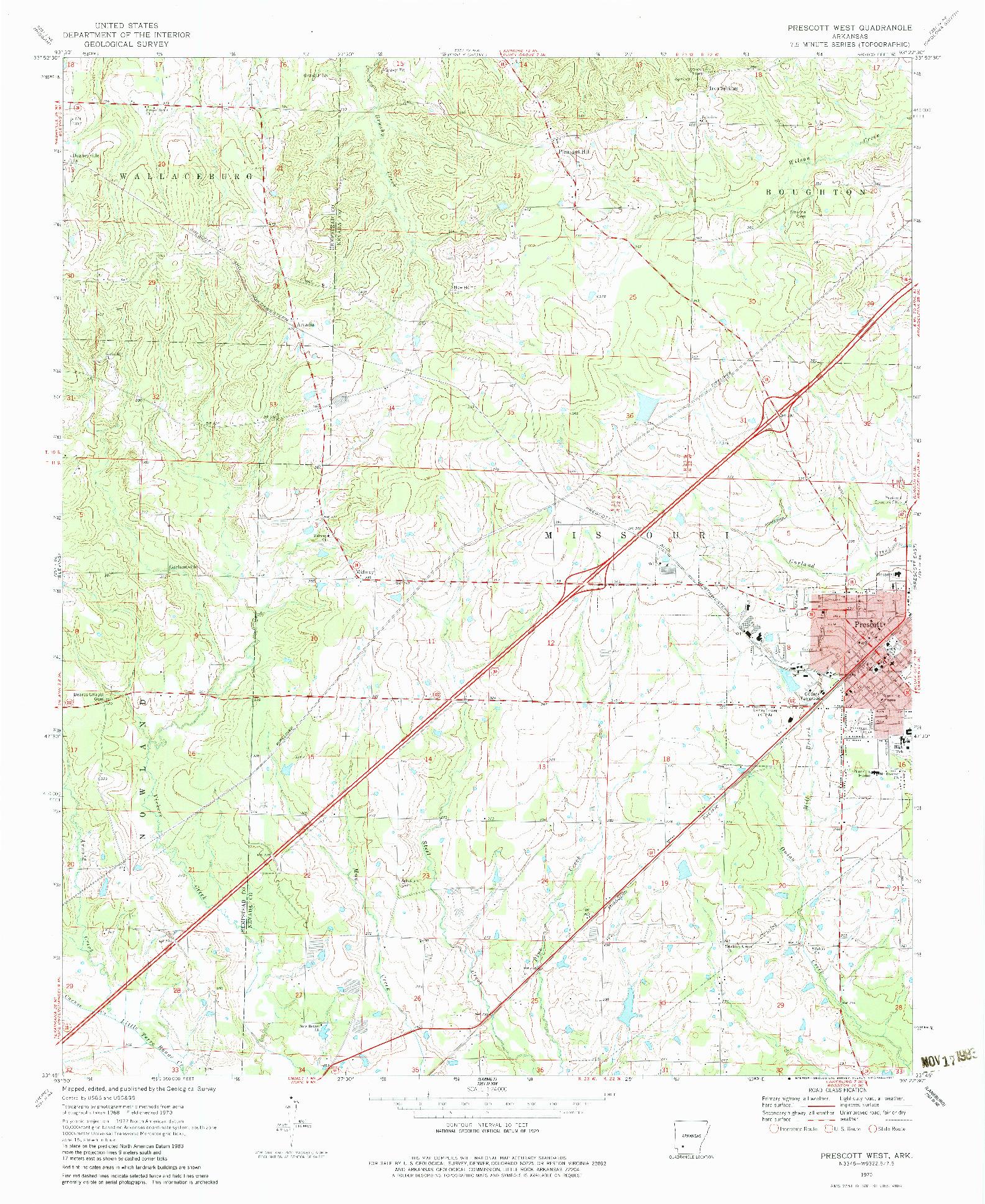 USGS 1:24000-SCALE QUADRANGLE FOR PRESCOTT WEST, AR 1970