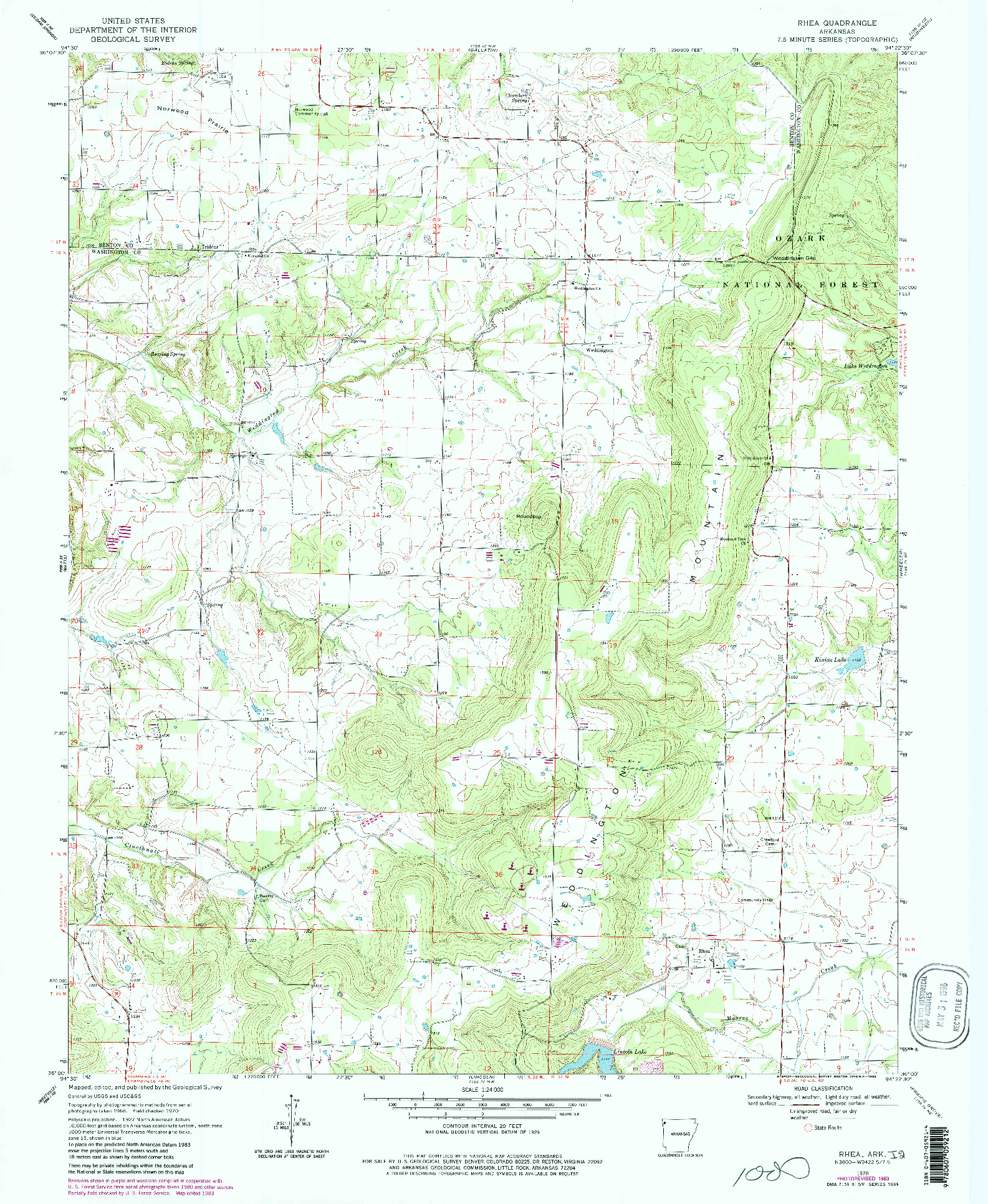 USGS 1:24000-SCALE QUADRANGLE FOR RHEA, AR 1970
