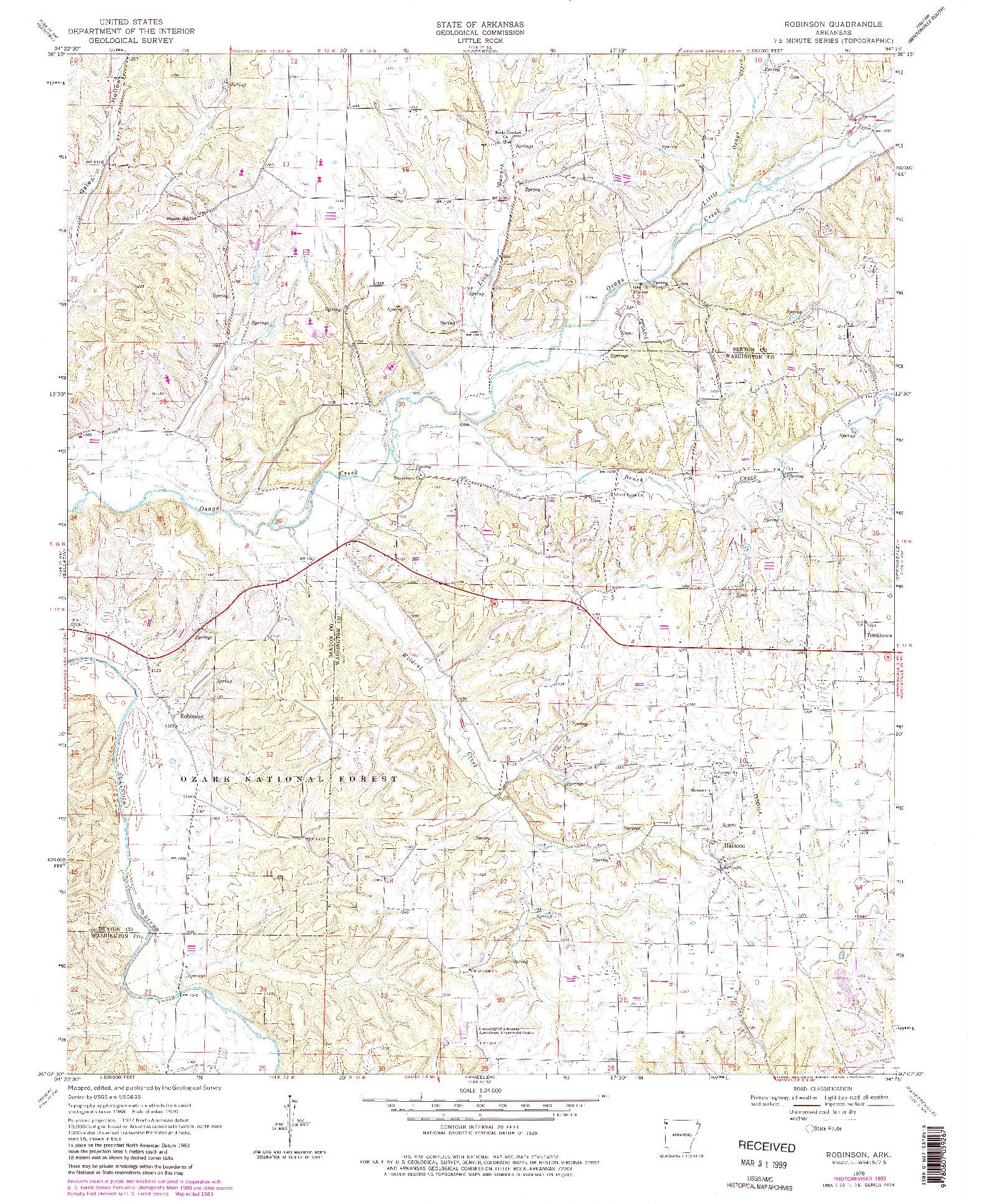 USGS 1:24000-SCALE QUADRANGLE FOR ROBINSON, AR 1970
